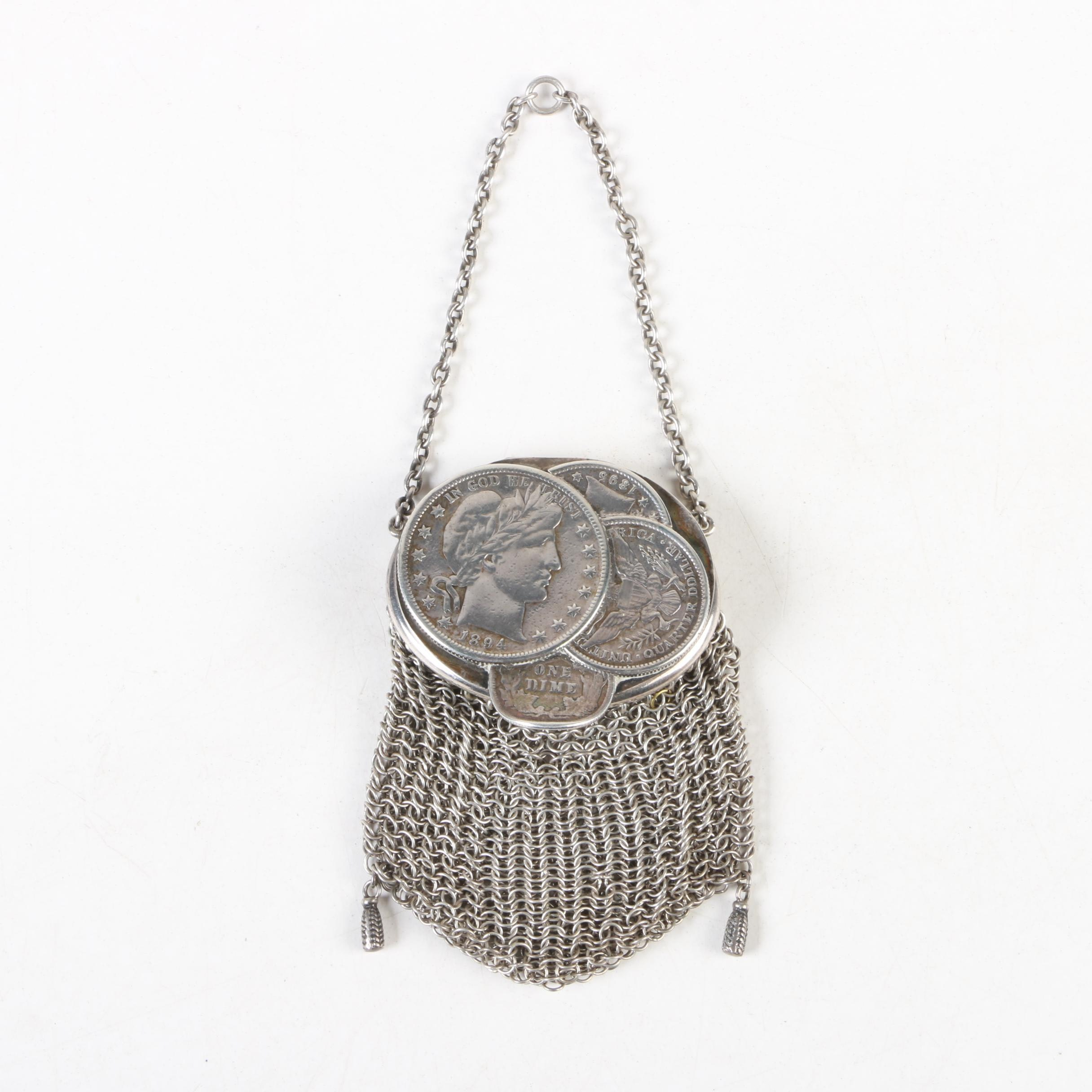 Victorian Sterling and 900 Silver Chatelaine Mesh Coin Purse, Late 19th Century