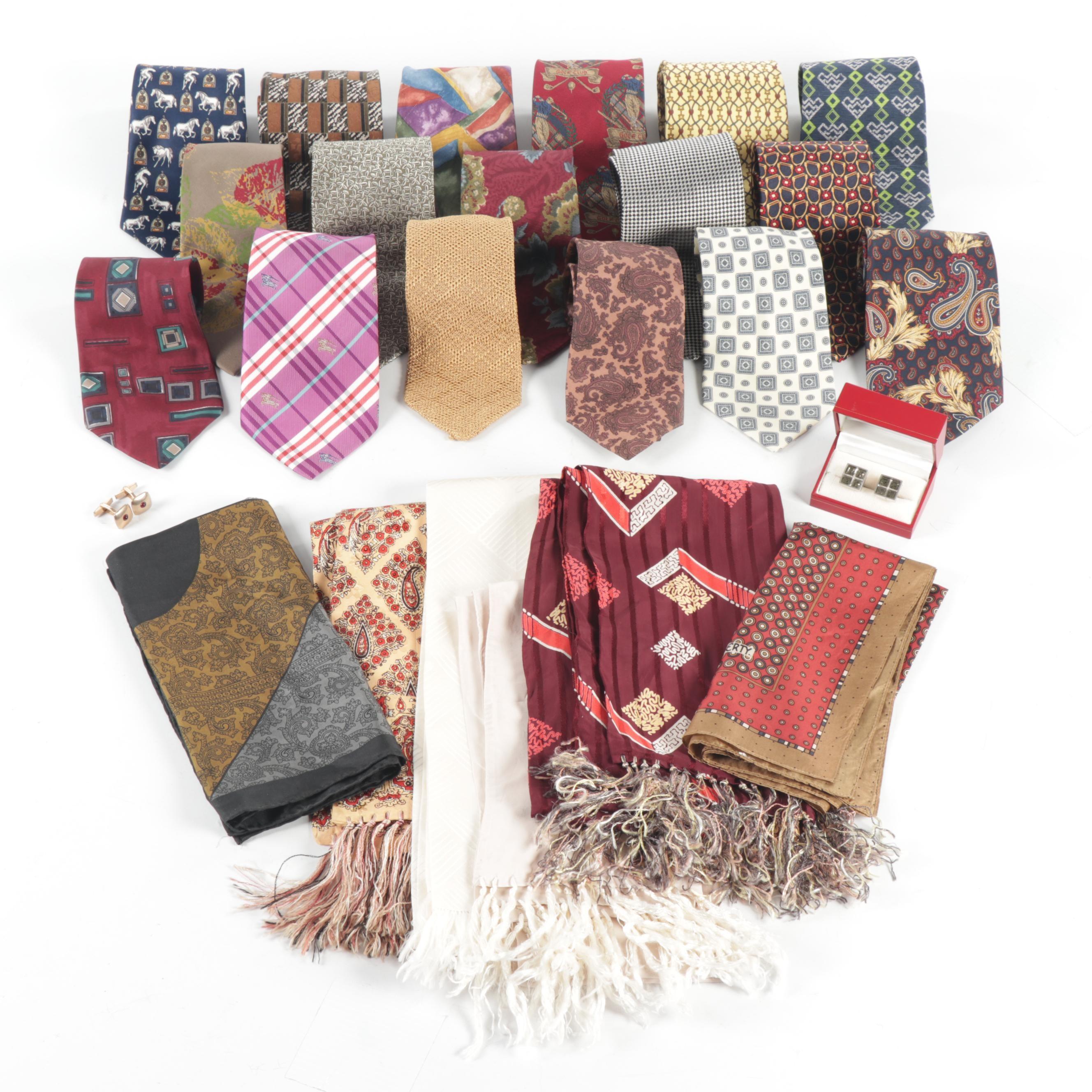 Men's Silk Ties and Accessories Including Oscar de la Renta, Burberry and More