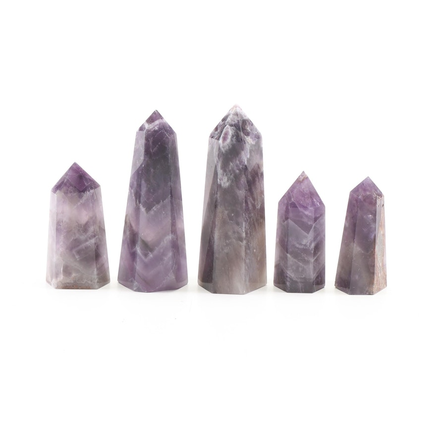 Chevron Amethyst Geodes, Group of Five