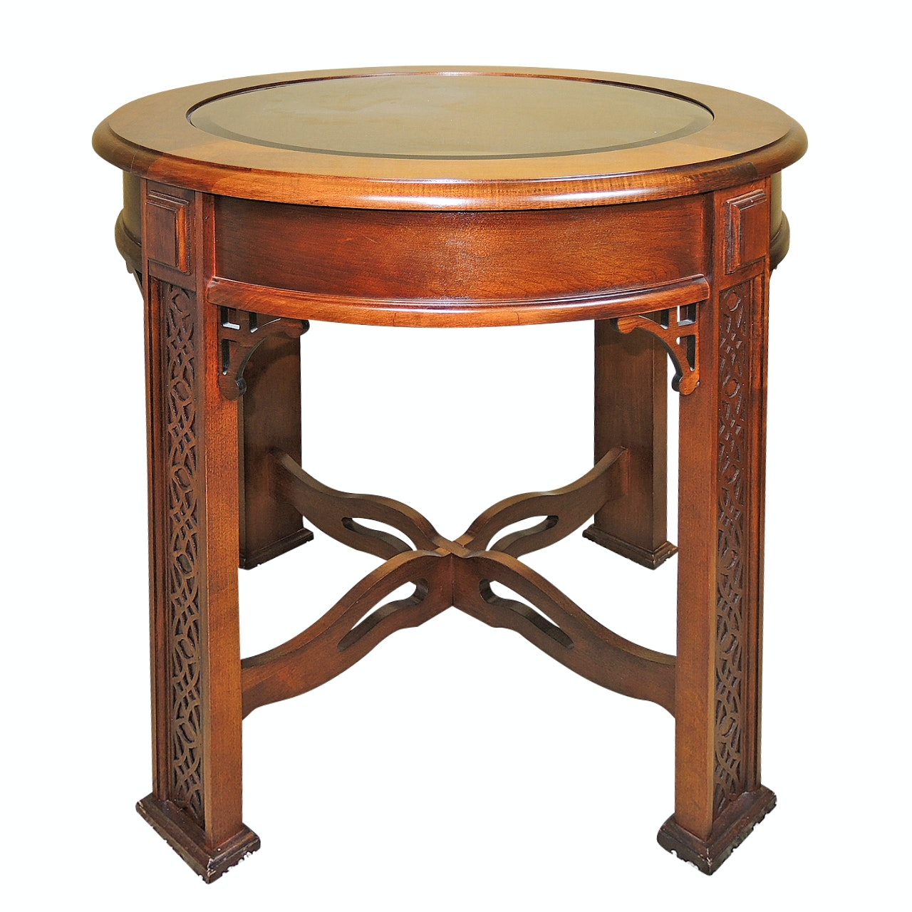 Contemporary Round Glass Top Side Table