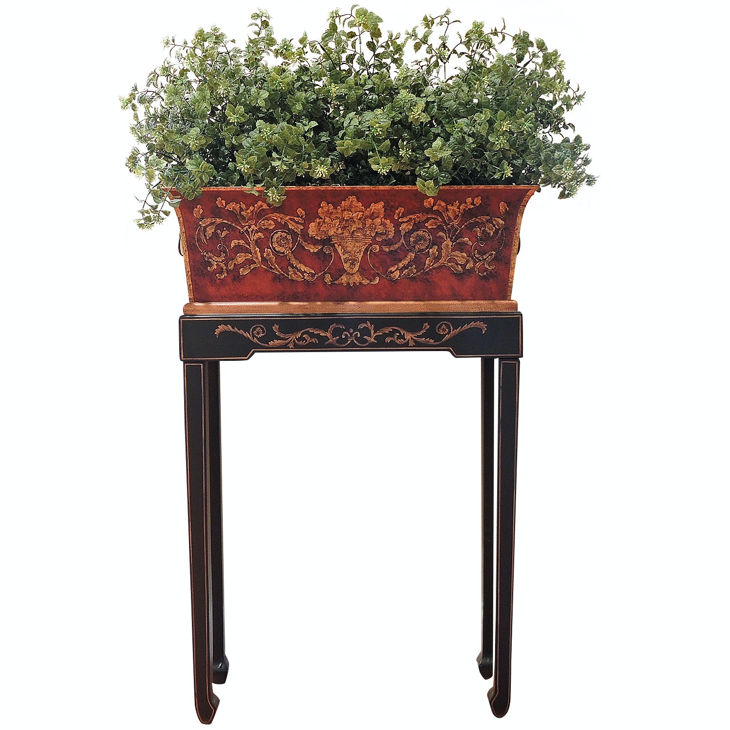 Decorative Hall Table with Metal Planter and Faux Floral Arrangement