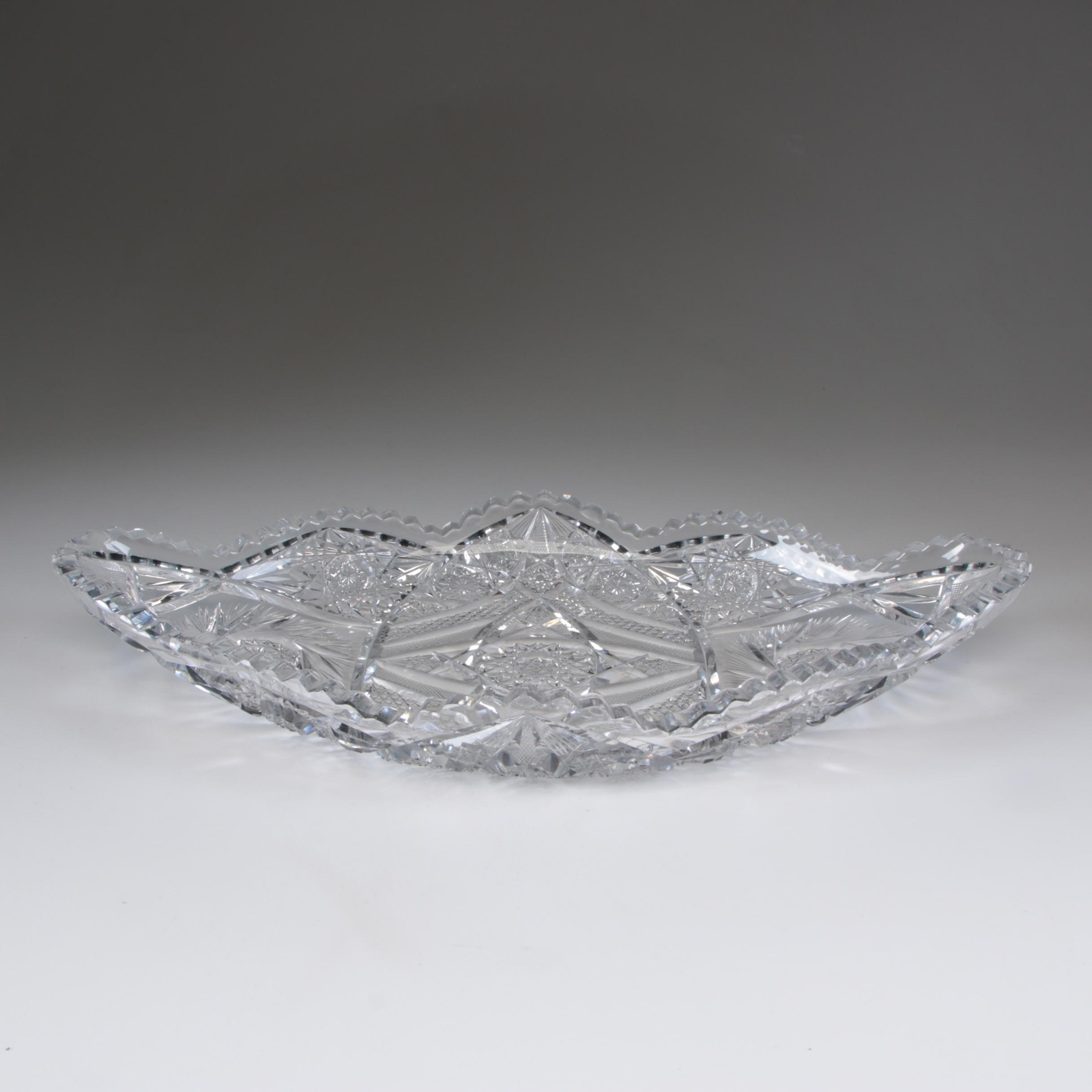 American Brilliant Cut Glass Oval Serving Bowl, Late 19th/Early 20th Century