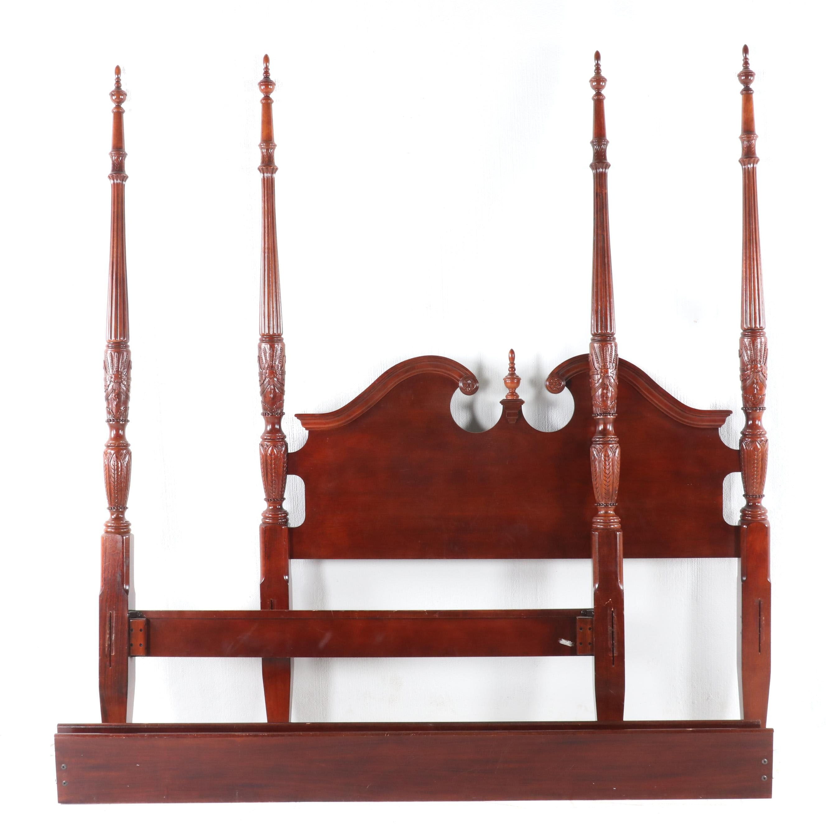 Federal Style Carved Cherry Four Poster Queen Size Rice Bed, Late 20th Century