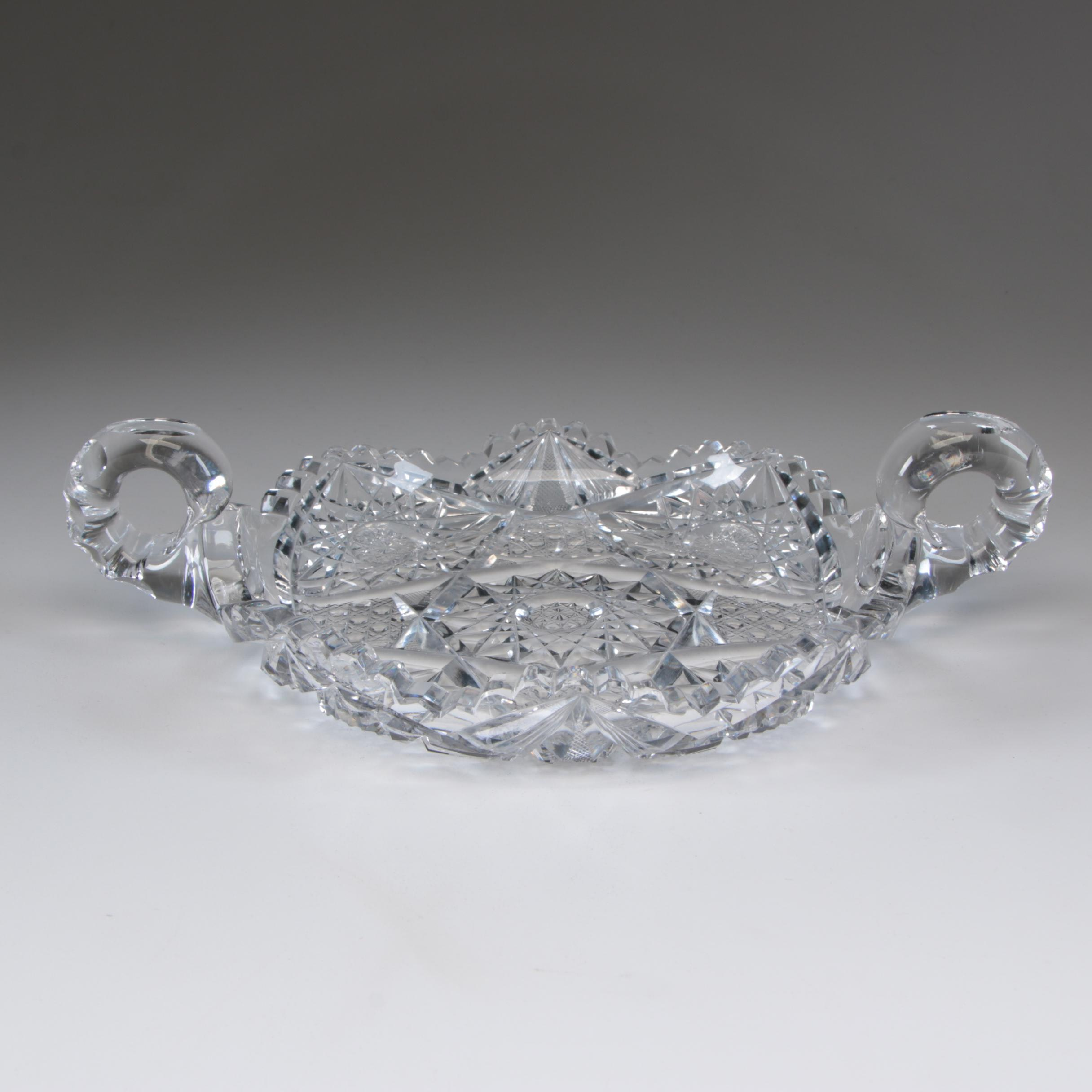 American Brilliant Cut Glass Serving Bowl with Scroll Handles