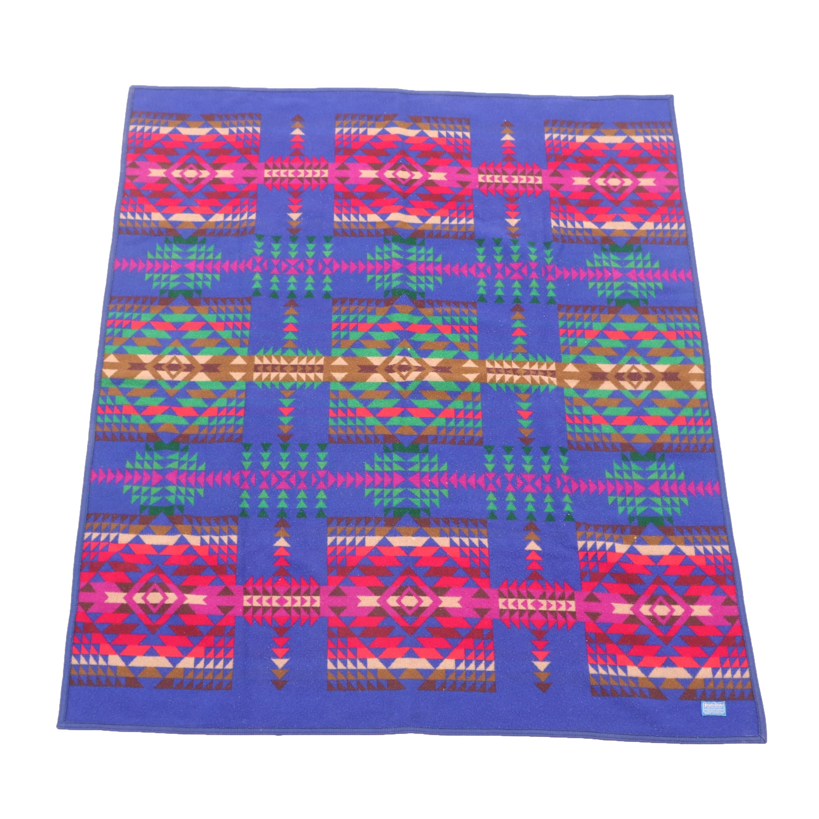 Pendleton Mill Beaver State Felted Wool Blanket with Geometric Pattern