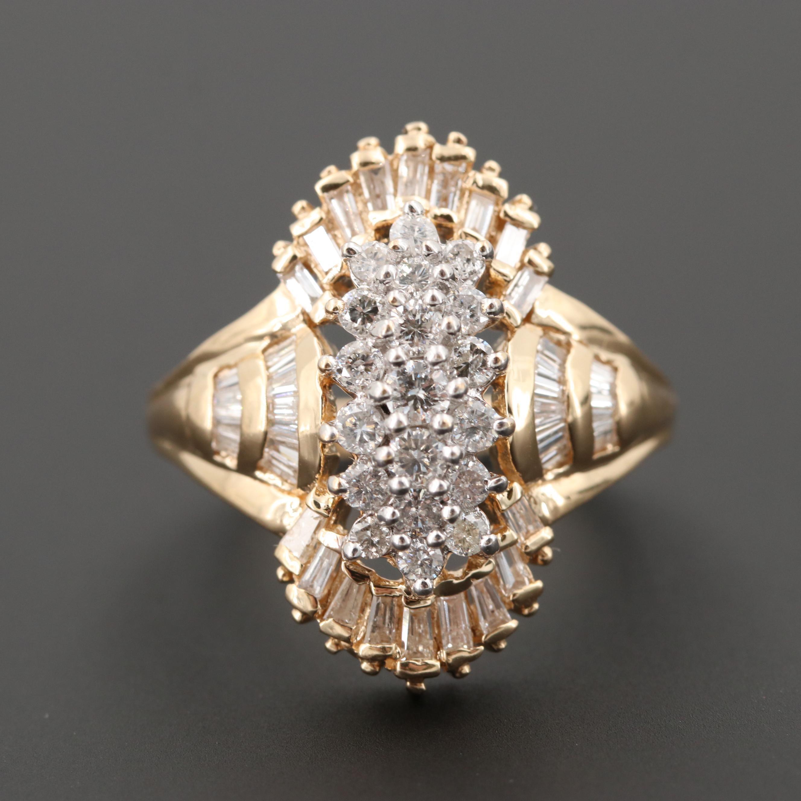 14K Yellow Gold 1.47 CTW Diamond Ring