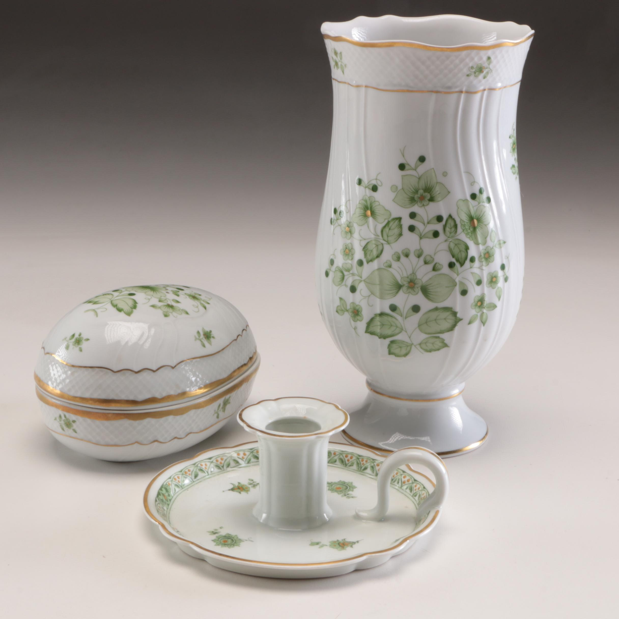 Hollóháza Porcelain Vase and Egg Box with Haviland Candle Chamberstick