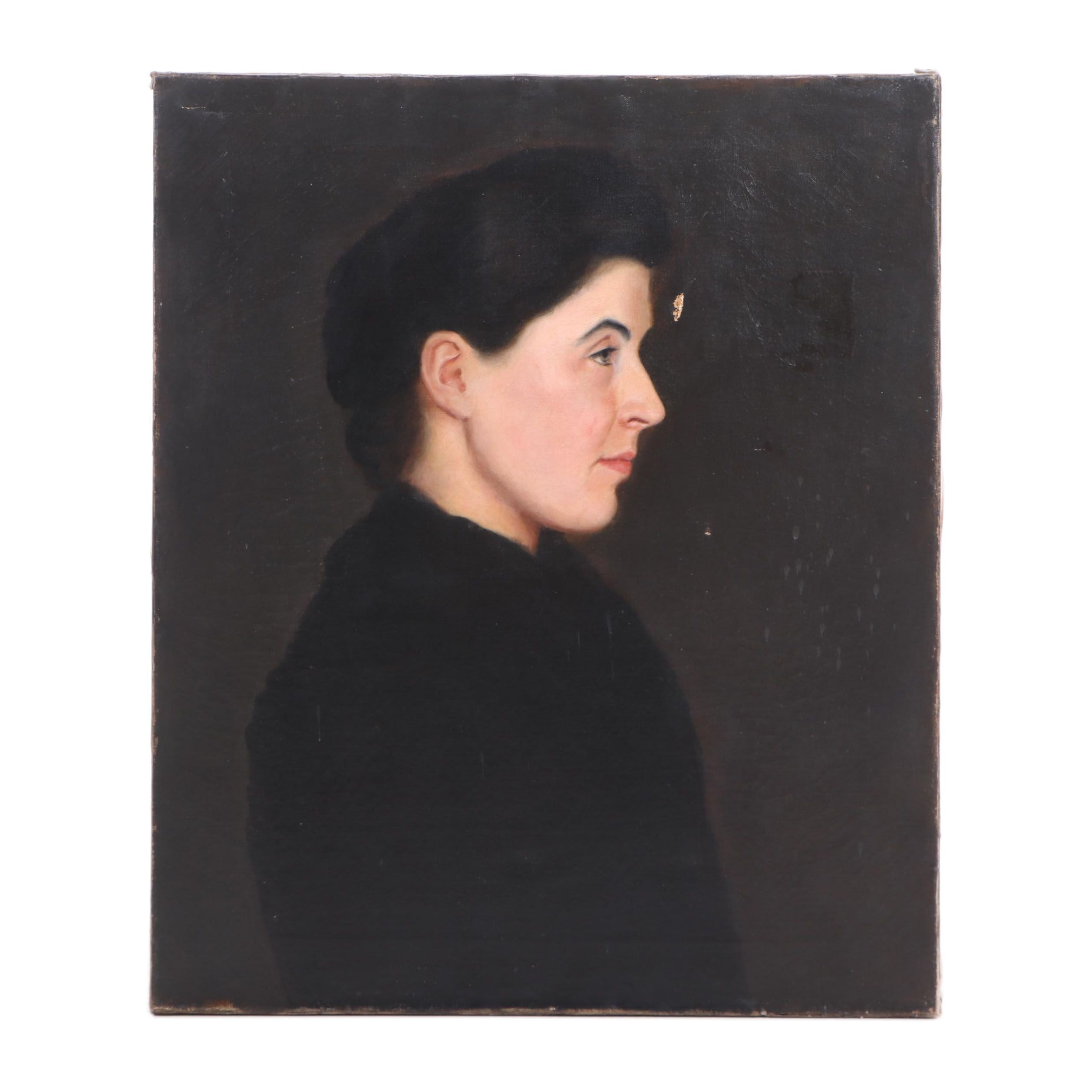 Early 20th Century Portrait Oil Painting