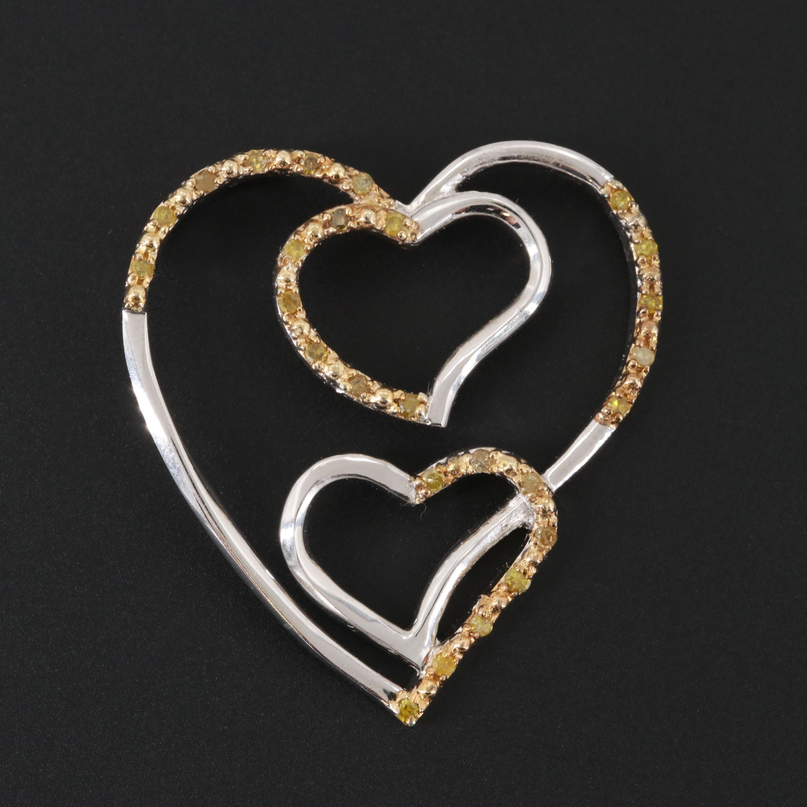 Sterling Silver Yellow Diamond Heart Pendant