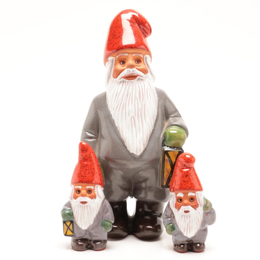 Ceramic Gnome with Lantern Figurines by Rolf Berg