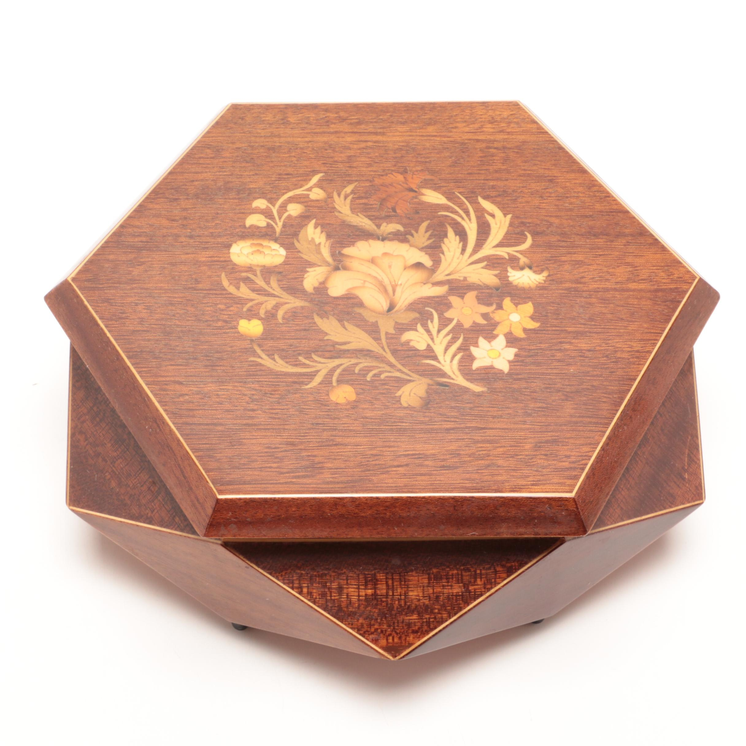 Marquetry Music Jewelry Box With Mahogany Finish