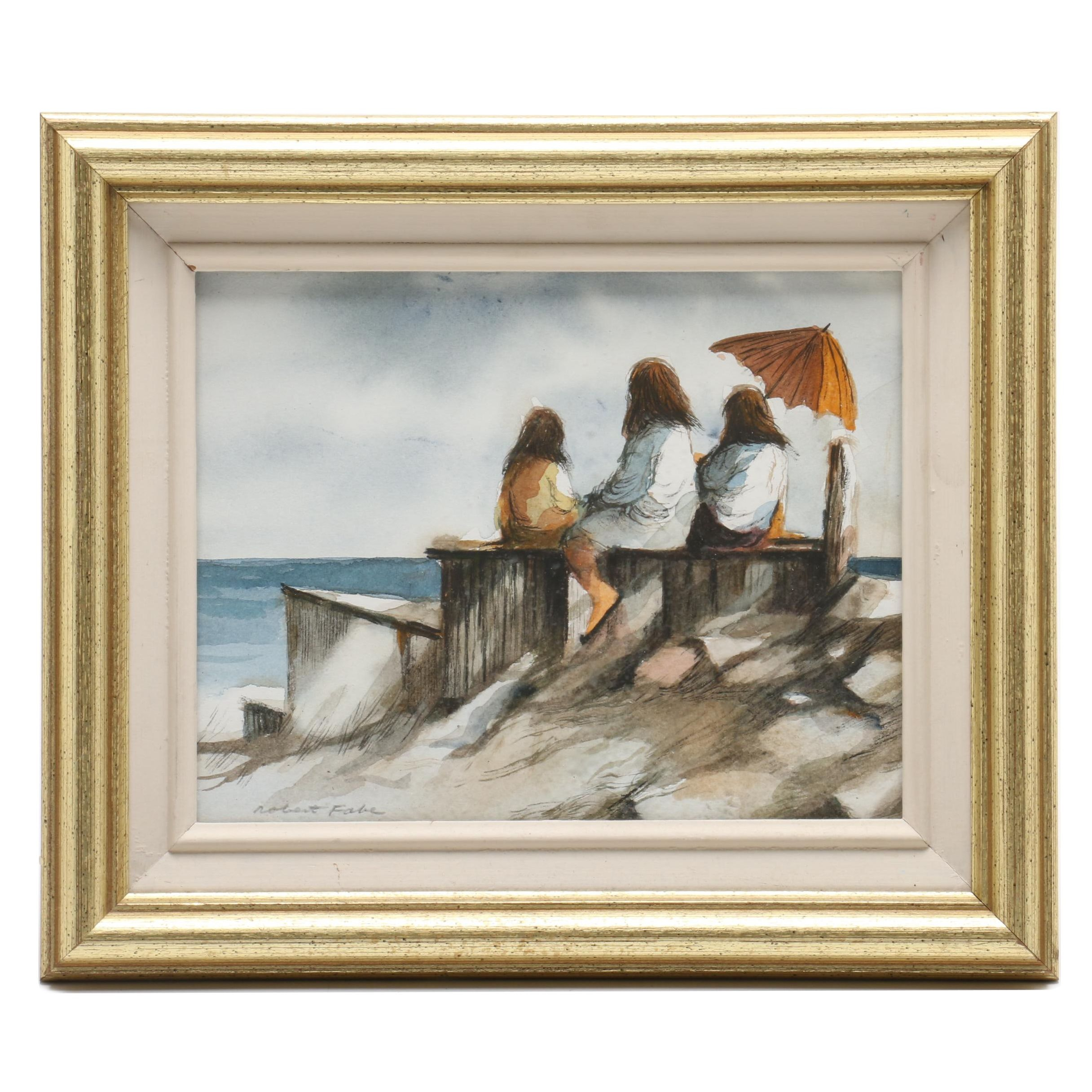Robert Fabe Watercolor Painting of Girls at the Shore