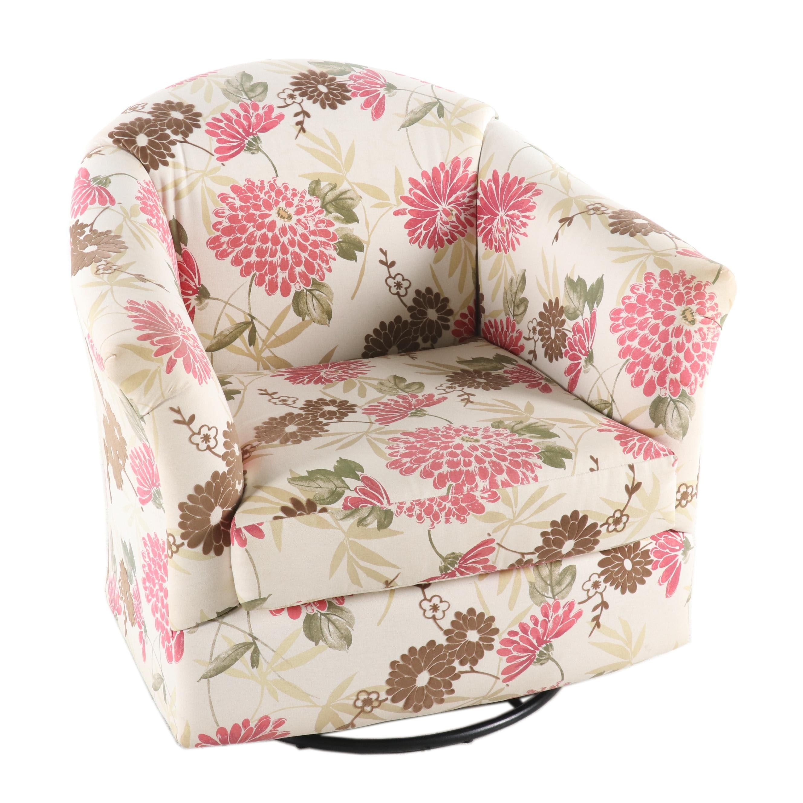 Upholstered Floral Swivel Armchair, Contemporary