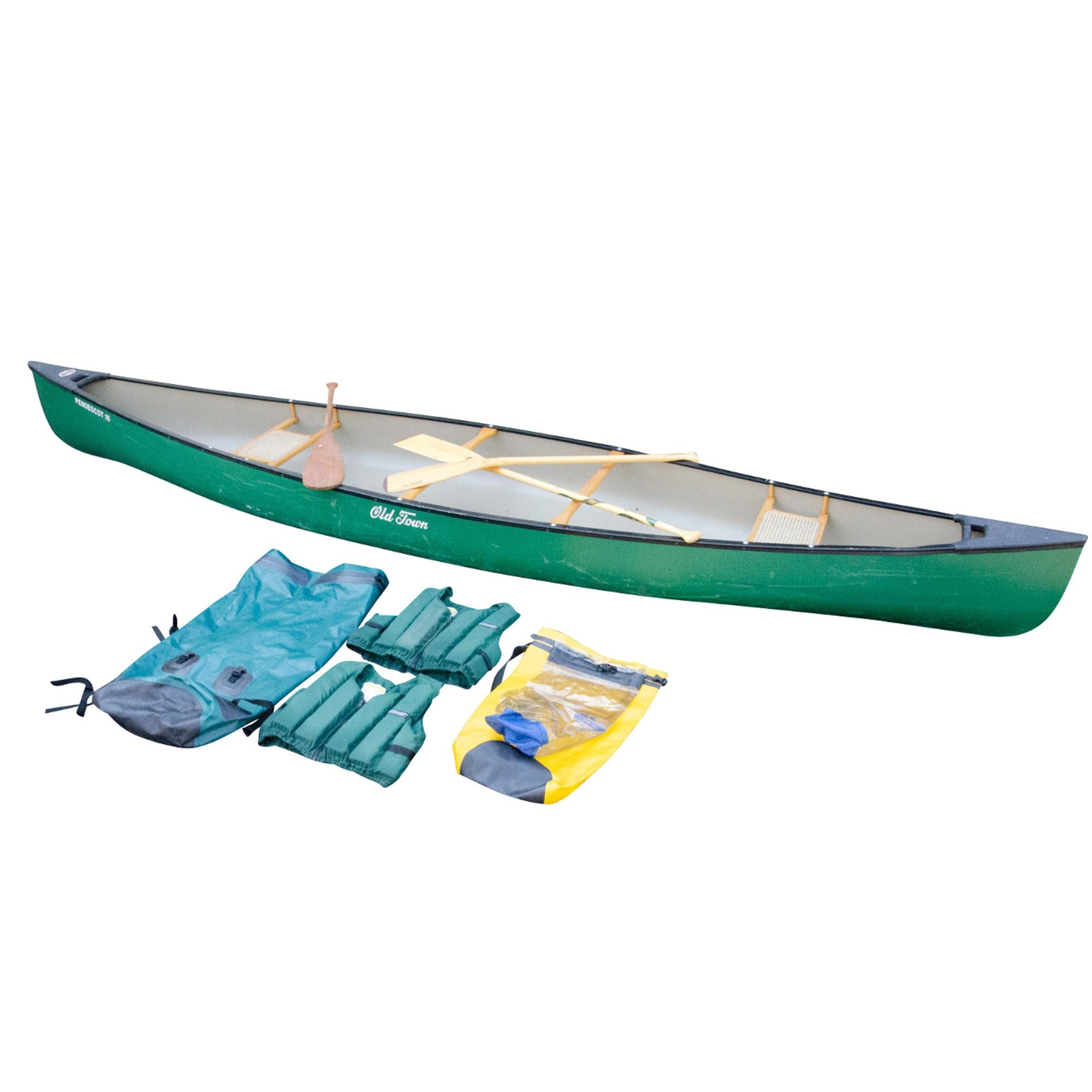 "Old Town ""Penobscot 16"" Lightweight Canoe, Life Preservers and Waterproof Bags"