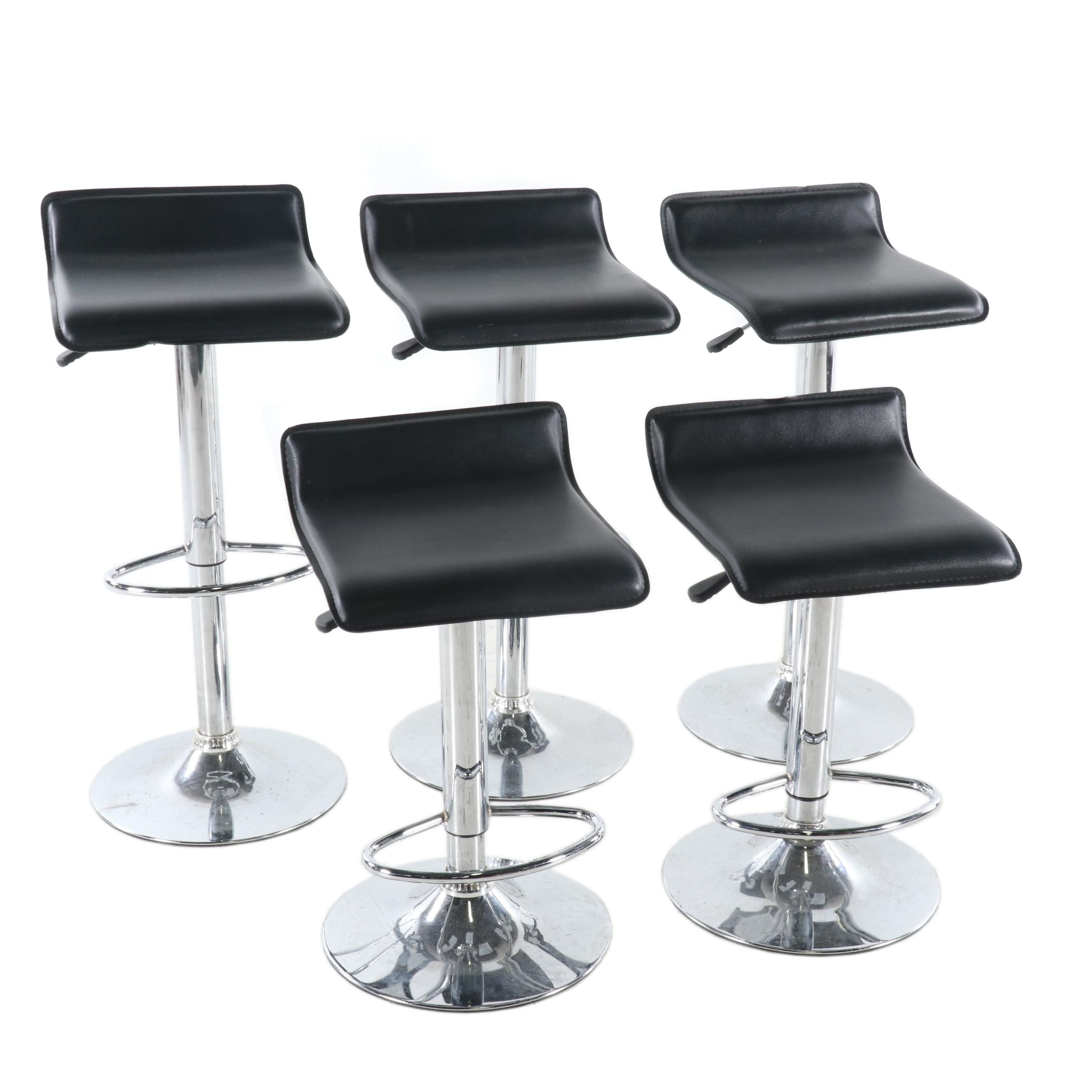 Modernist Style Swivel Barstools with Black Leather Upholstery