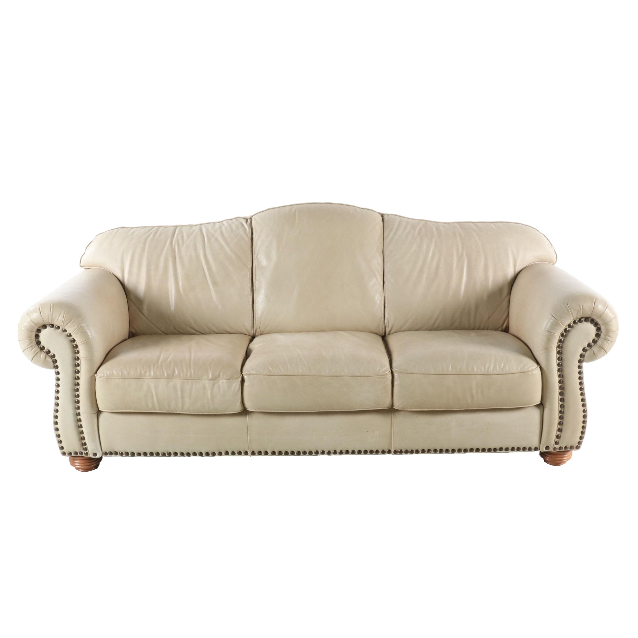 Contemporary Leather Camelback Sofa with Nailhead Trim