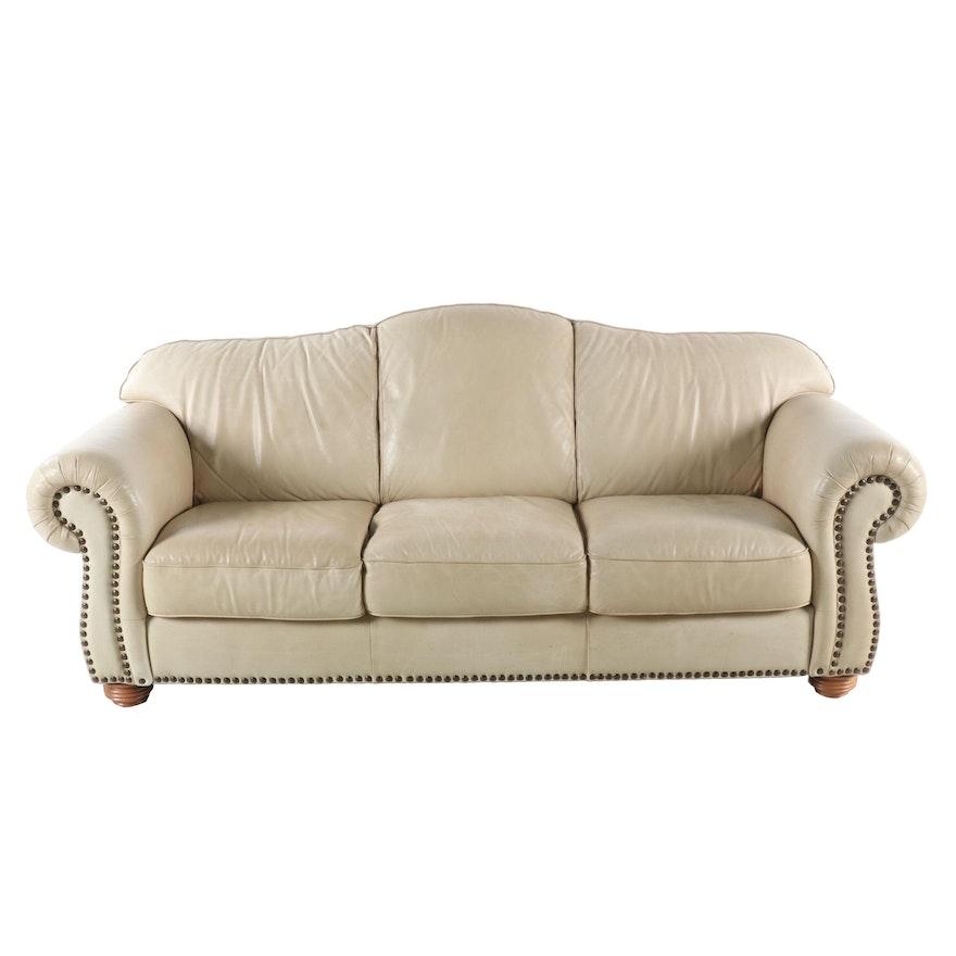 Contemporary Leather Camelback Sofa with Nailhead Trim