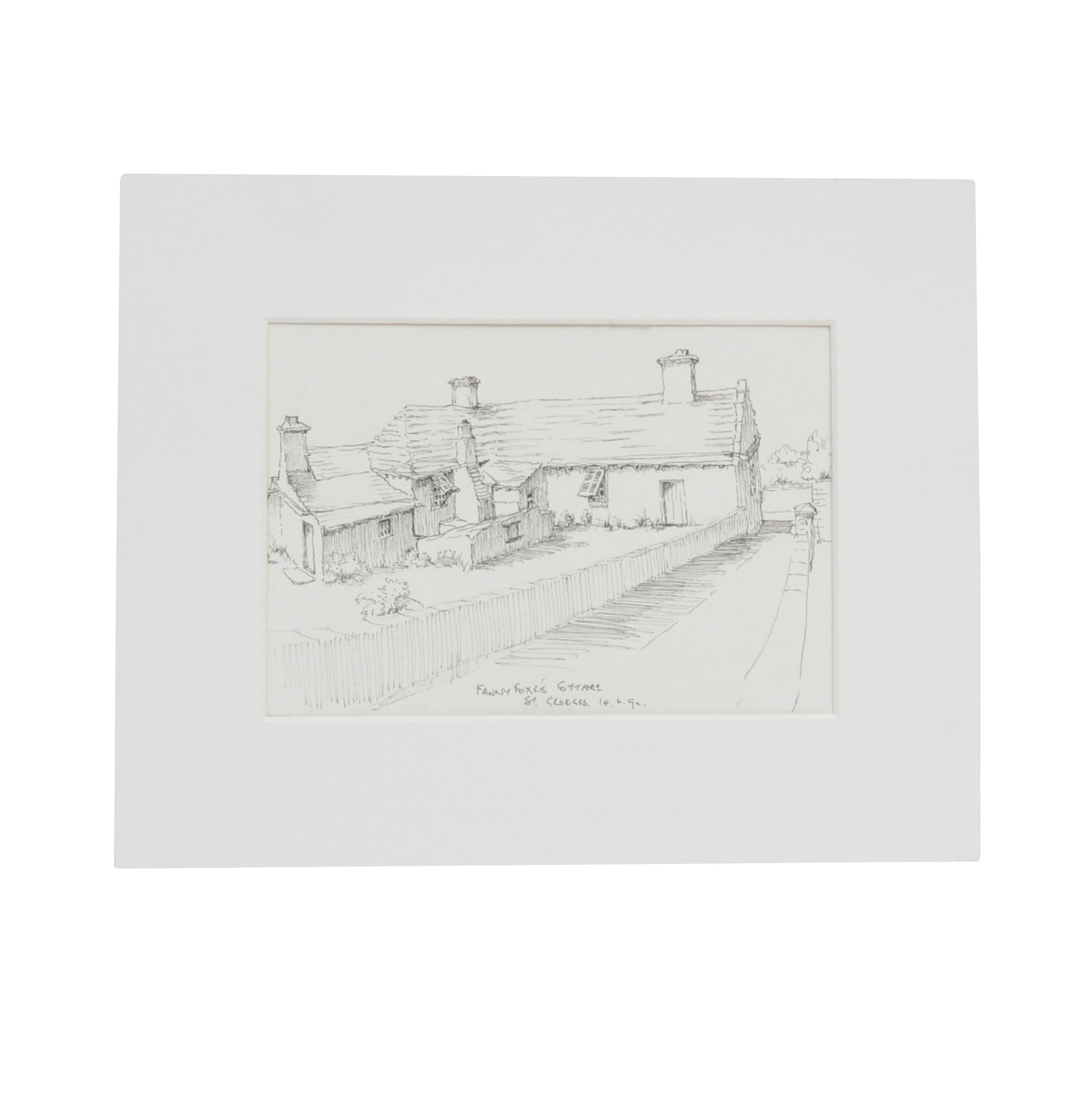"Ink Drawing ""Fanny Foxe's Cottage"""