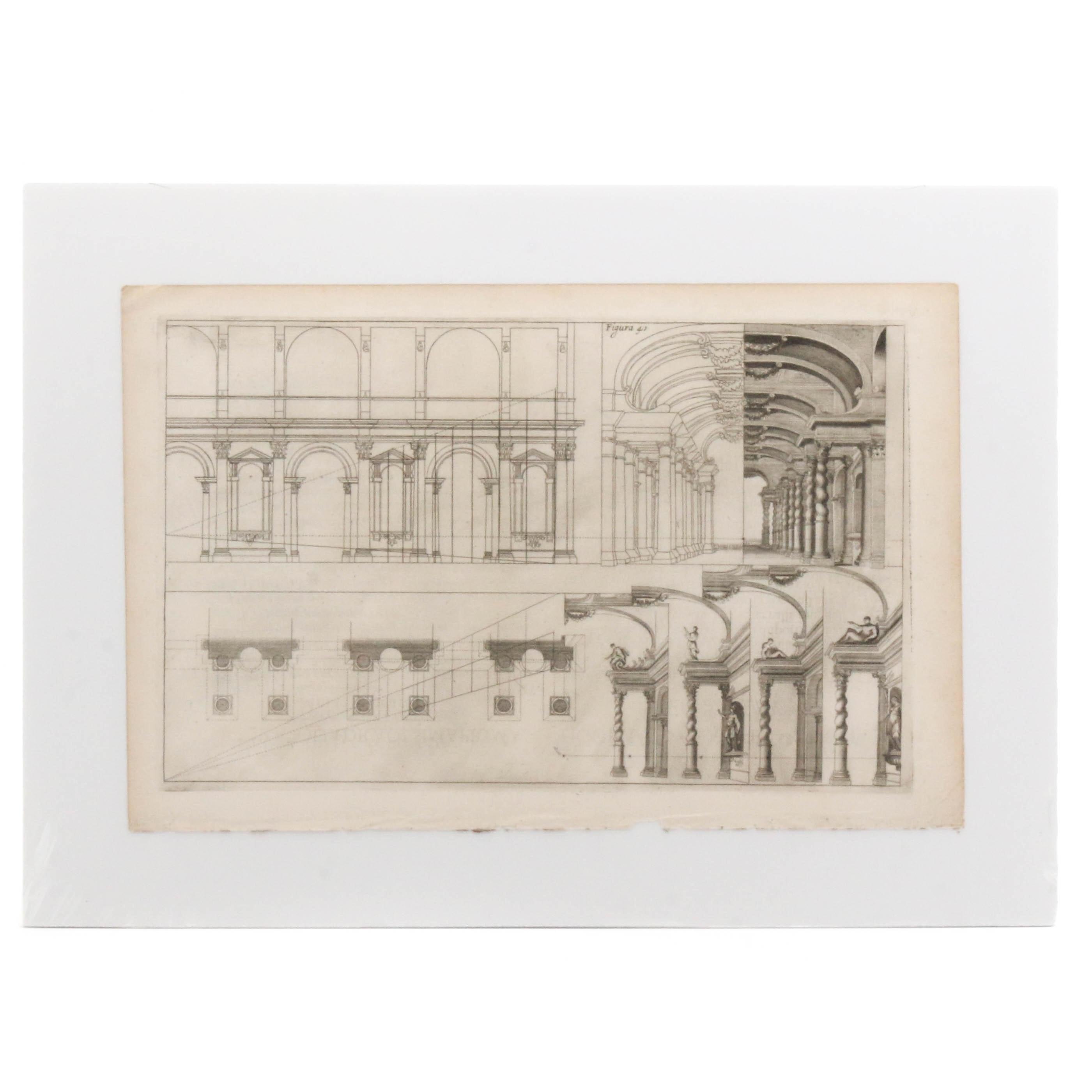 """19th Century Italian Engraving """"Teatro di Arfenale"""""""