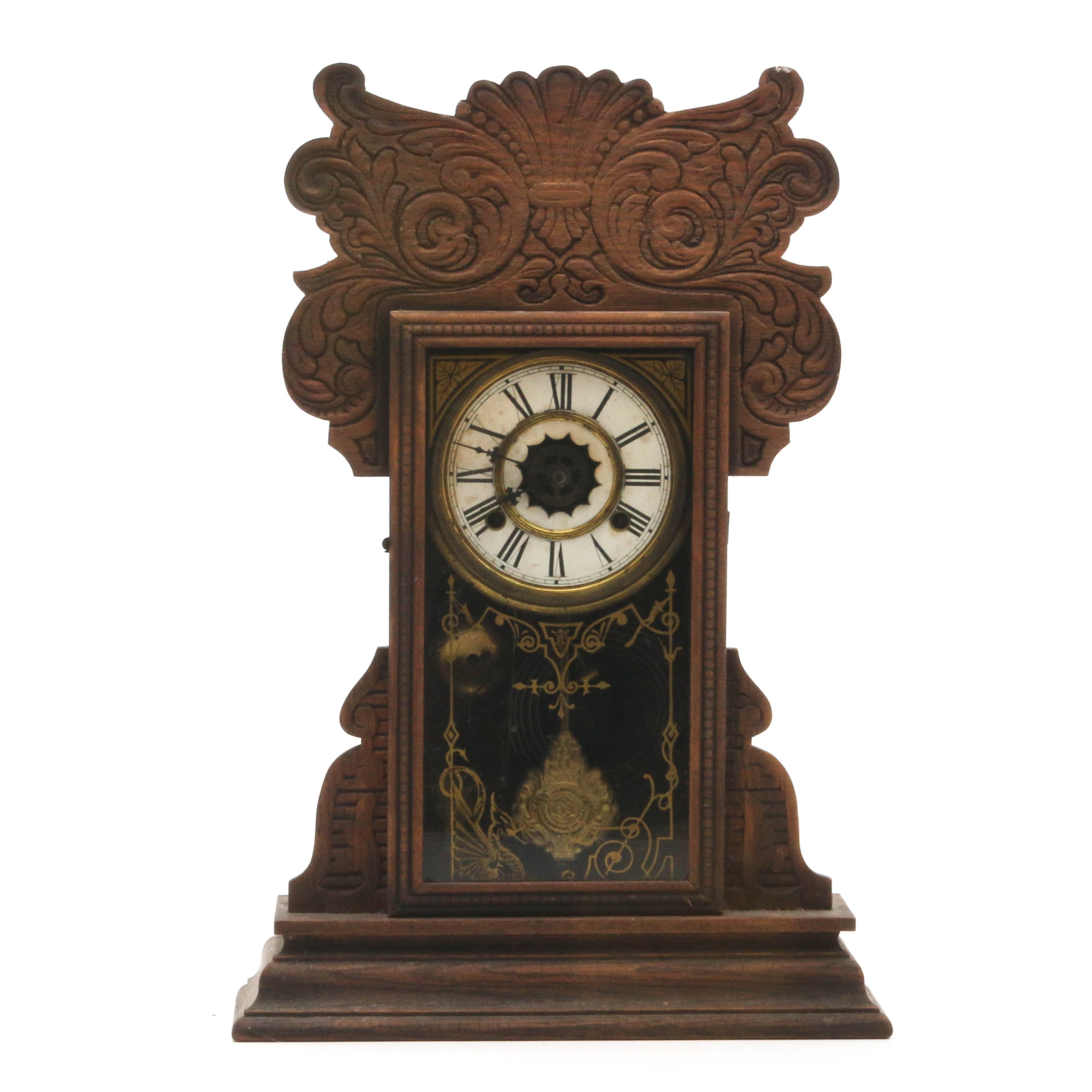 Reverse-Painted Gingerbread Mantel Clock, Early 20th Century