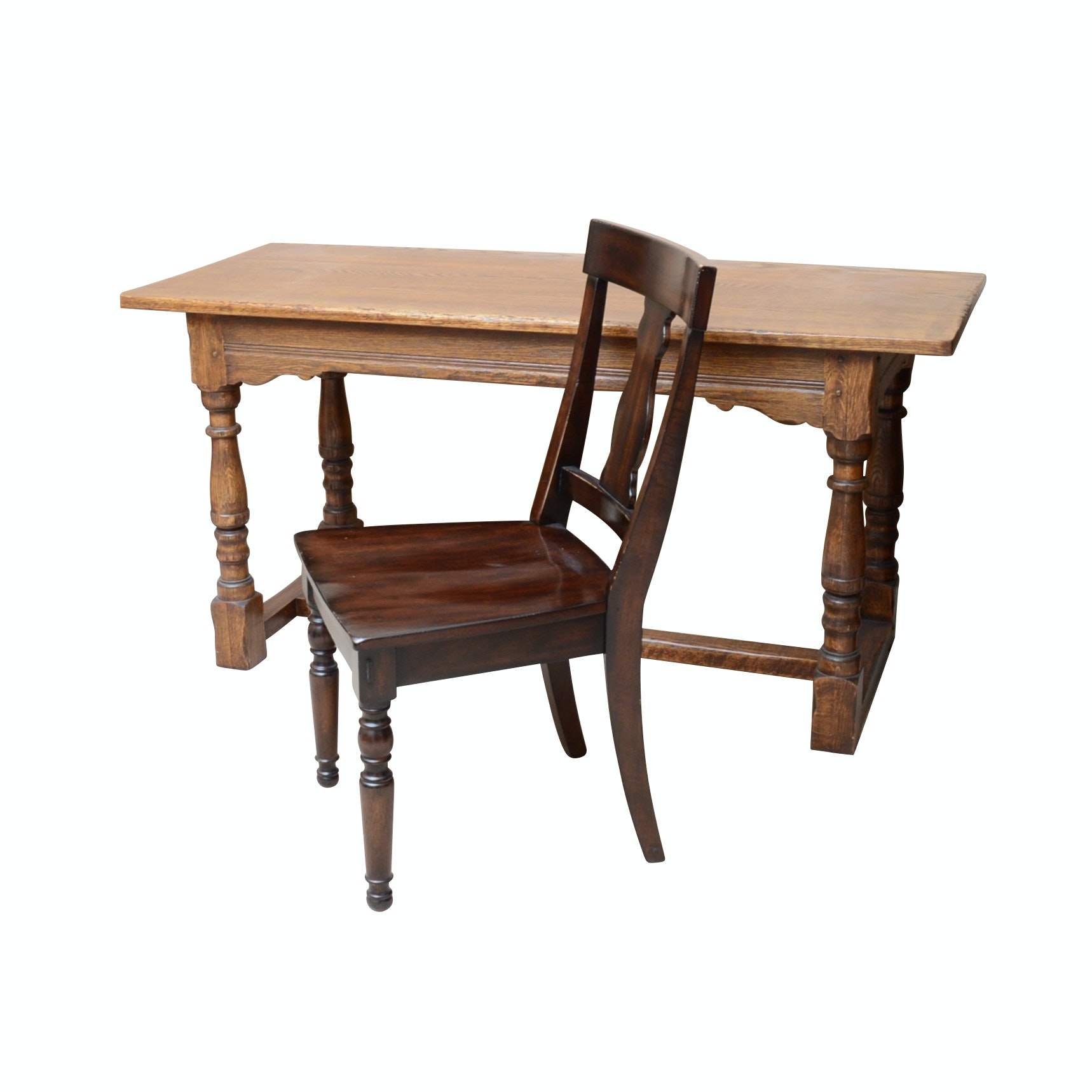 Oak Library Desk with Wooden Chair