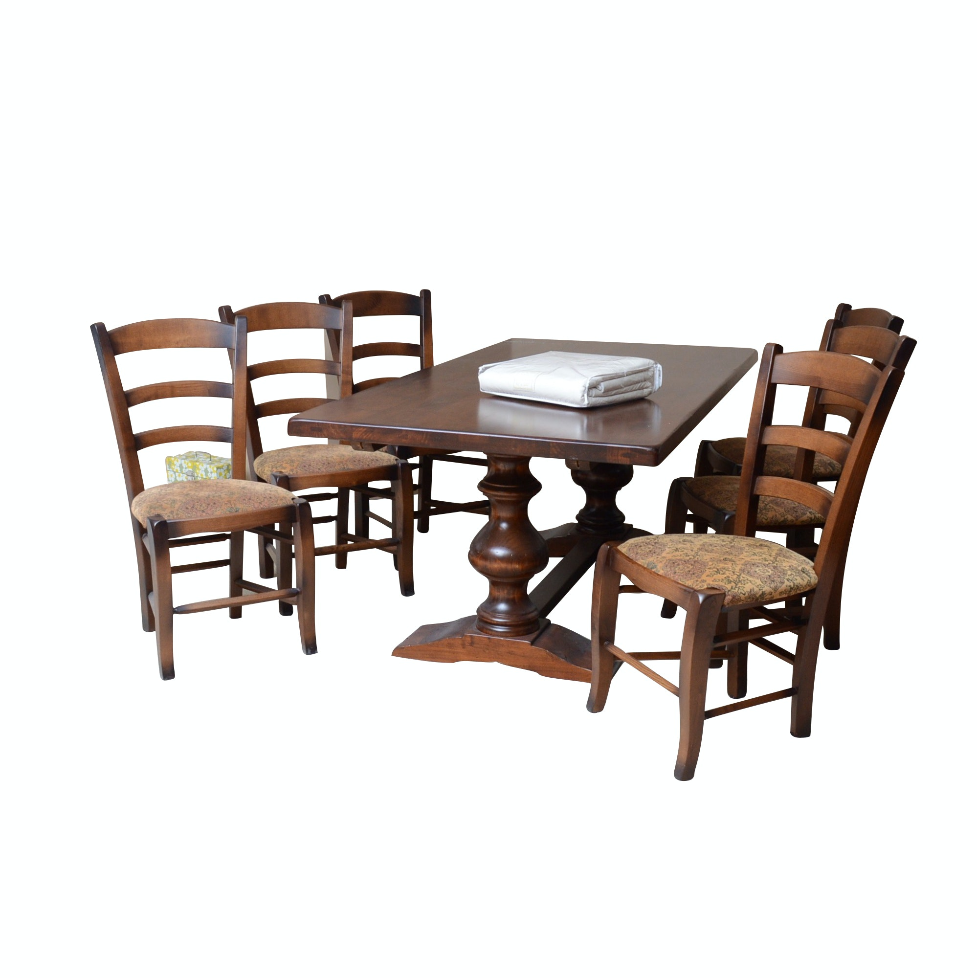 Arhaus Solid Double Pedestal Pine Table with Six Side Chairs and Two Leaves