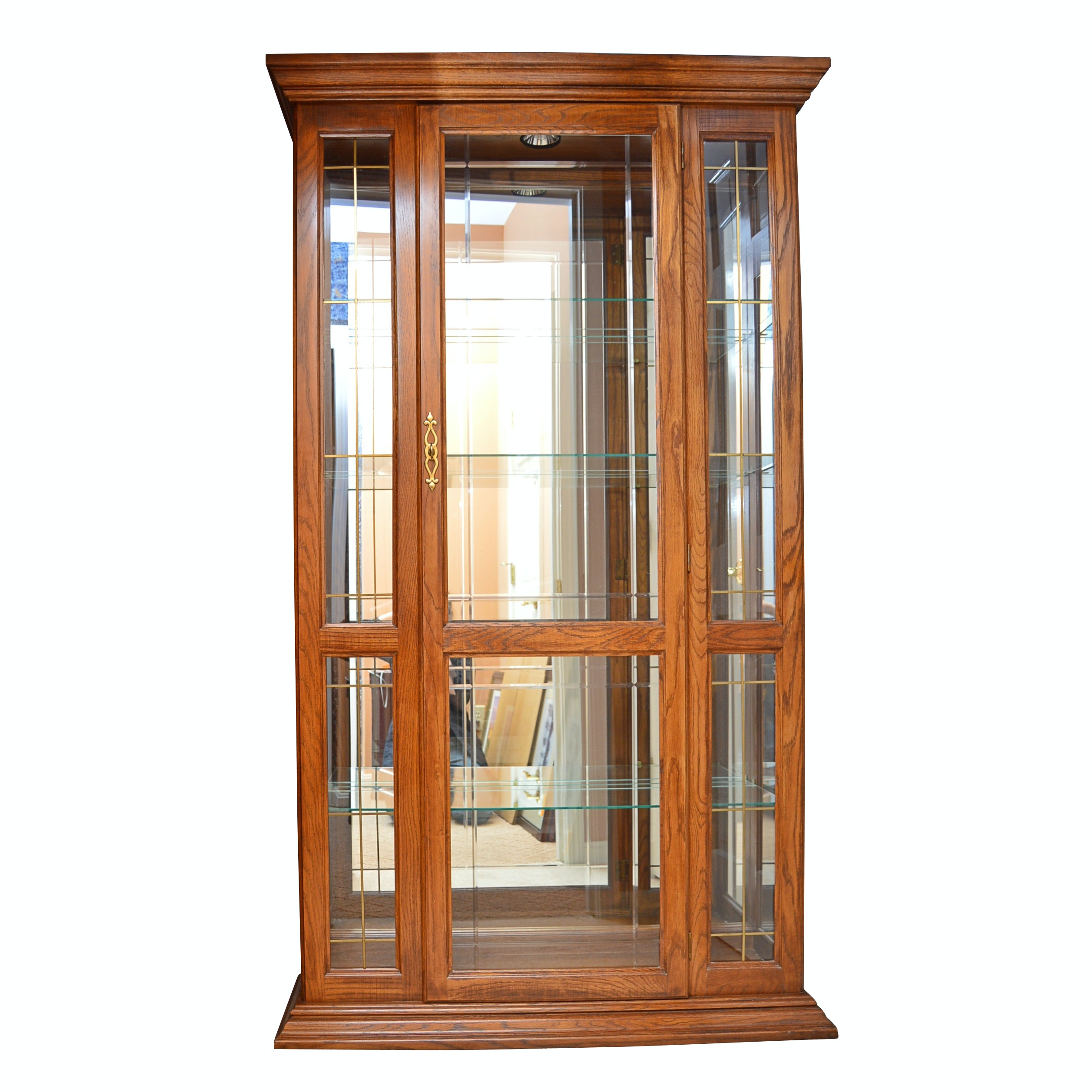 Lighted Oak Display Cabinet with Mirrored Back