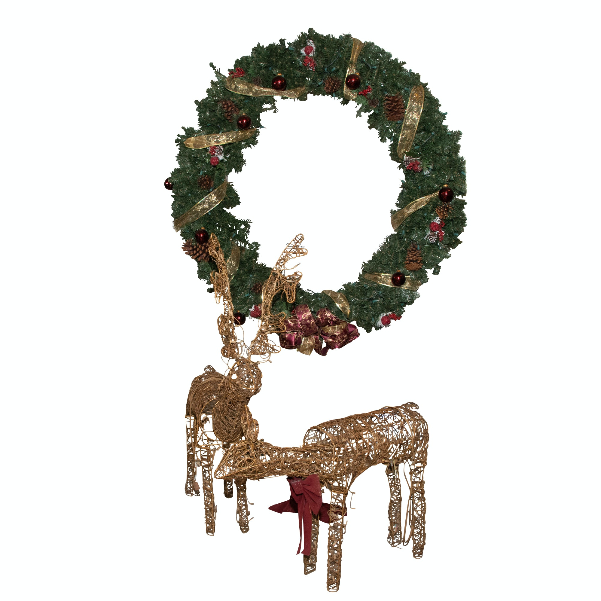 Large Christmas Wreath with Wicker Reindeers