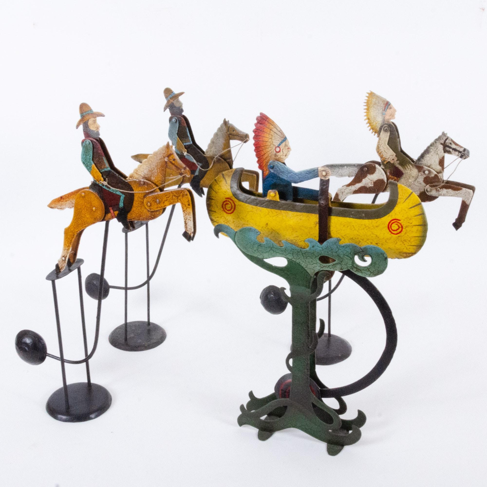 Handmade Western Themed Tin Kinetic Balancing Sculptures