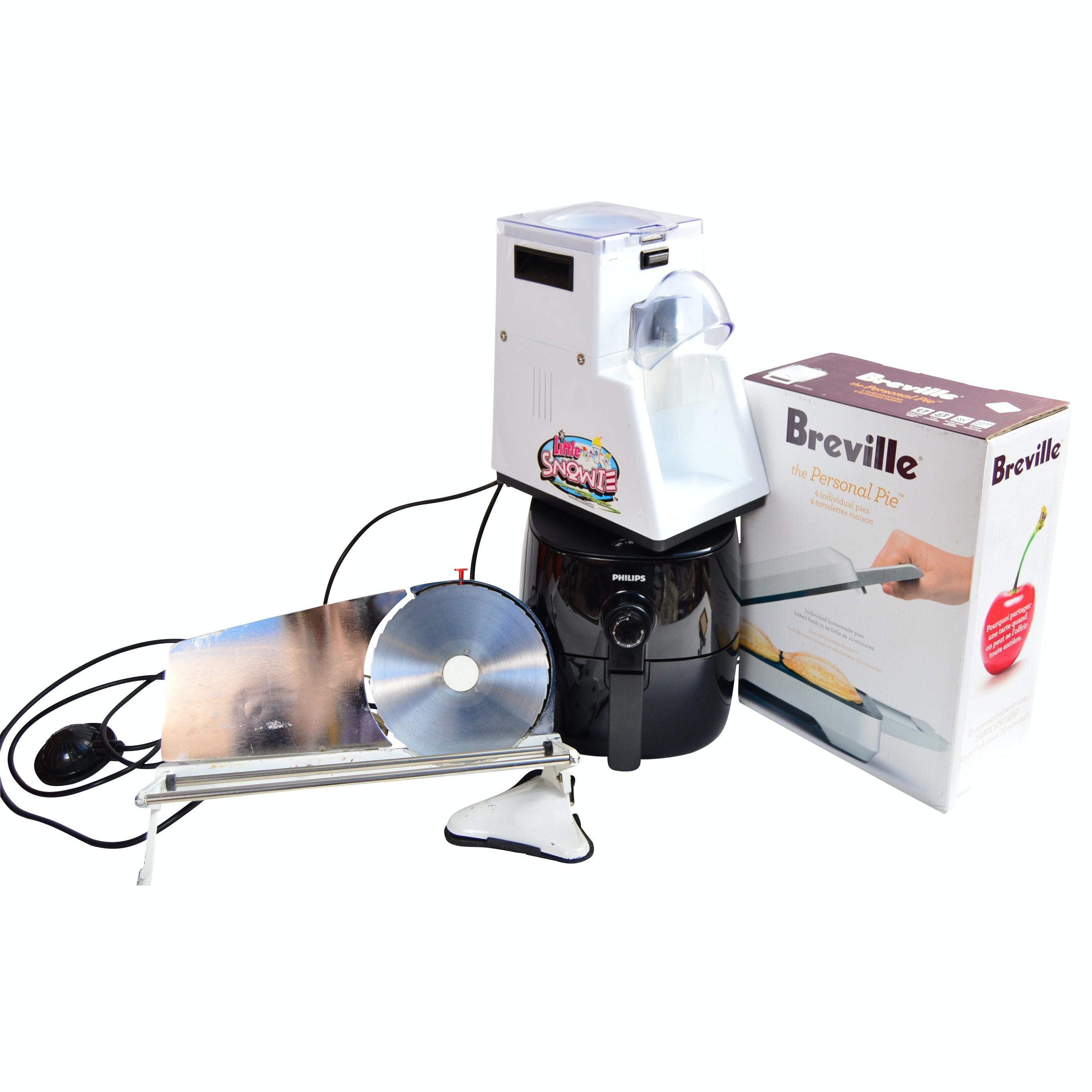 Appliances with Slicer, SnoCone Machine, Breville Pie Maker, Philips Air Fryer