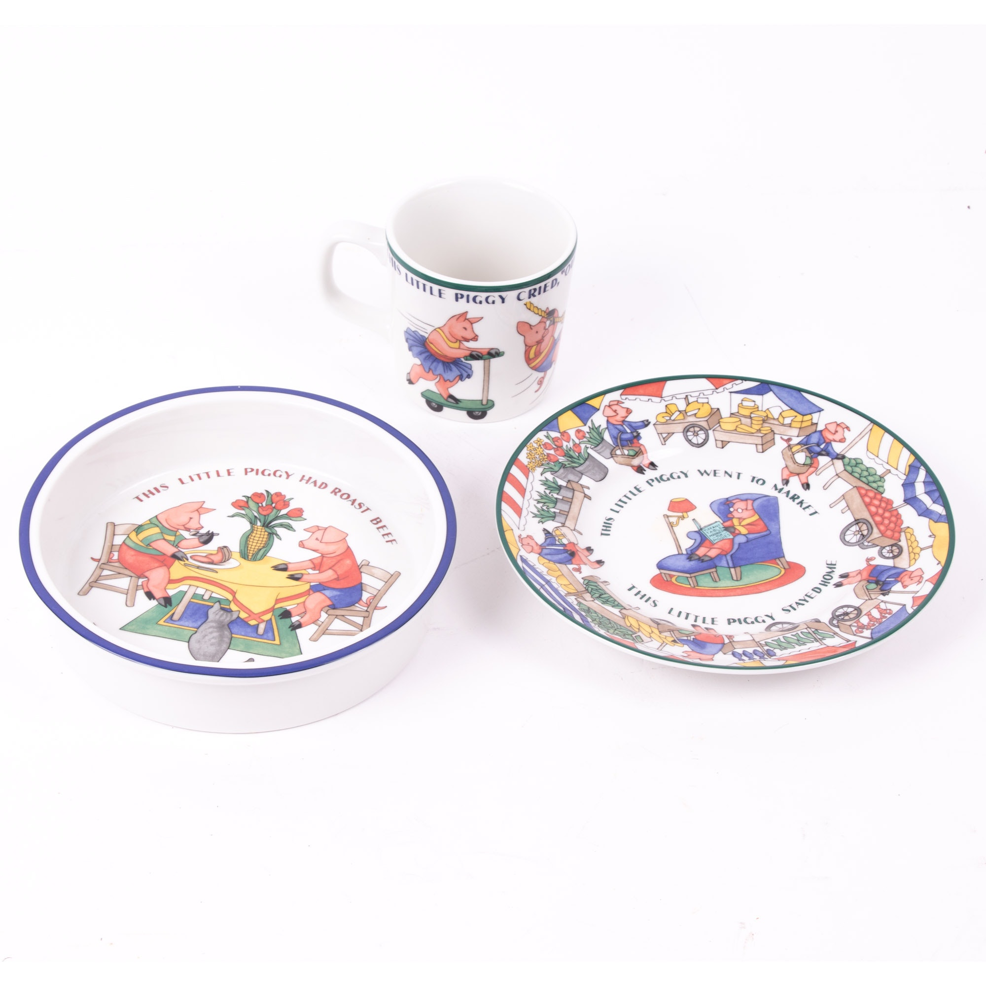 """Tiffany and Co. """"Five Little Pigs"""" Ceramic Dinnerware"""