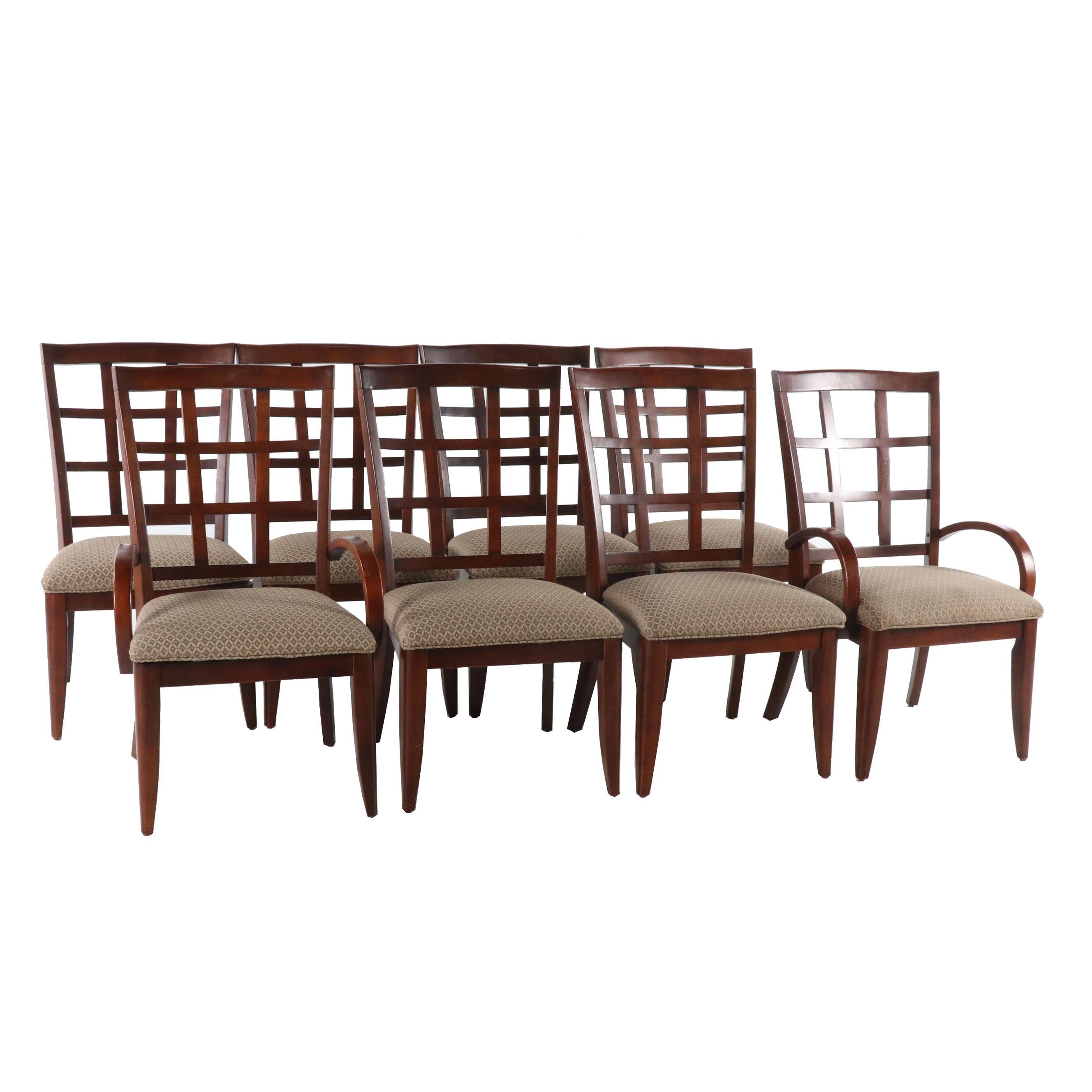 Contemporary Mahogany Finish Wooden Dining Chairs