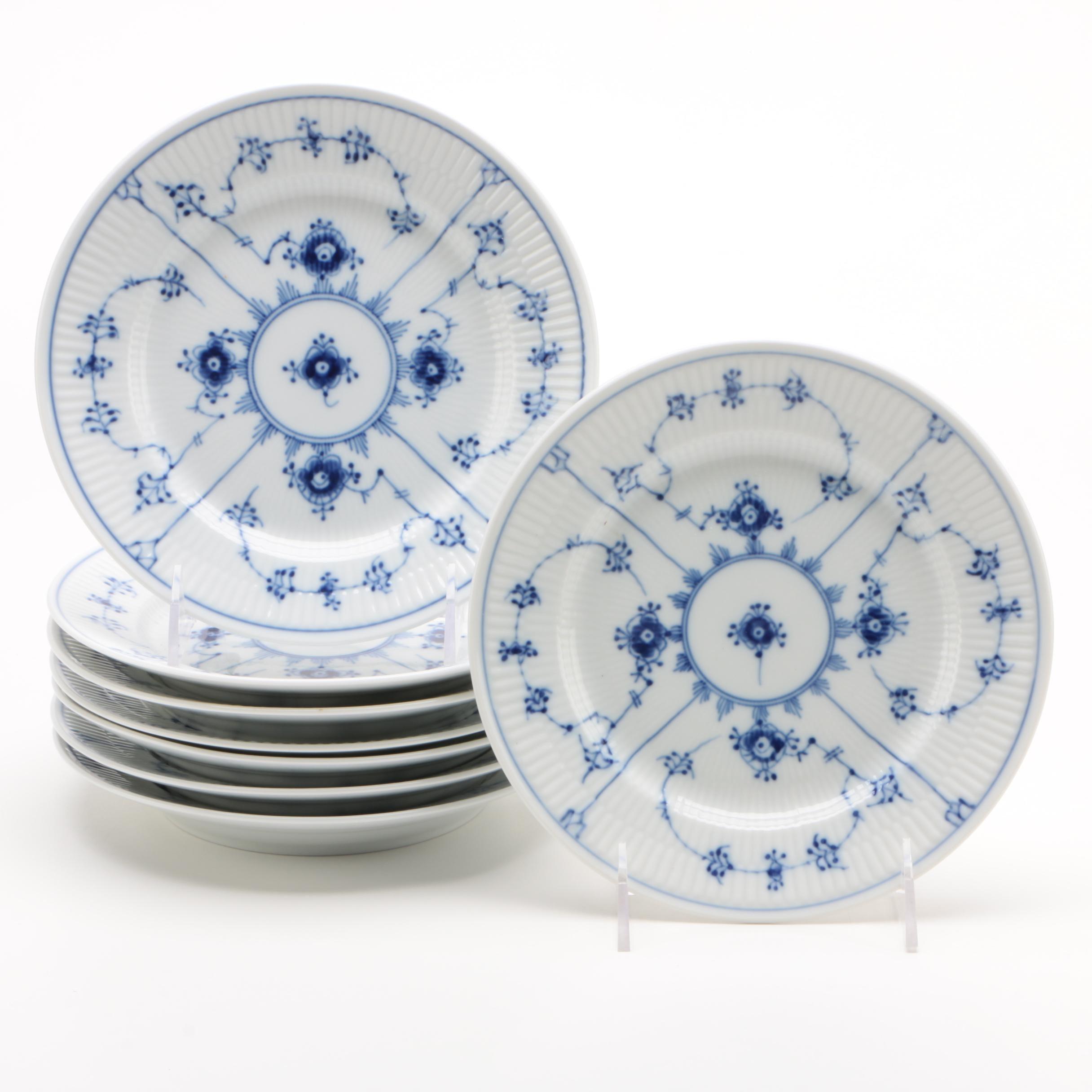 """Royal Copenhagen """"Blue Fluted Plain"""" Porcelain Salad Plates for Eight, 1992-1999"""
