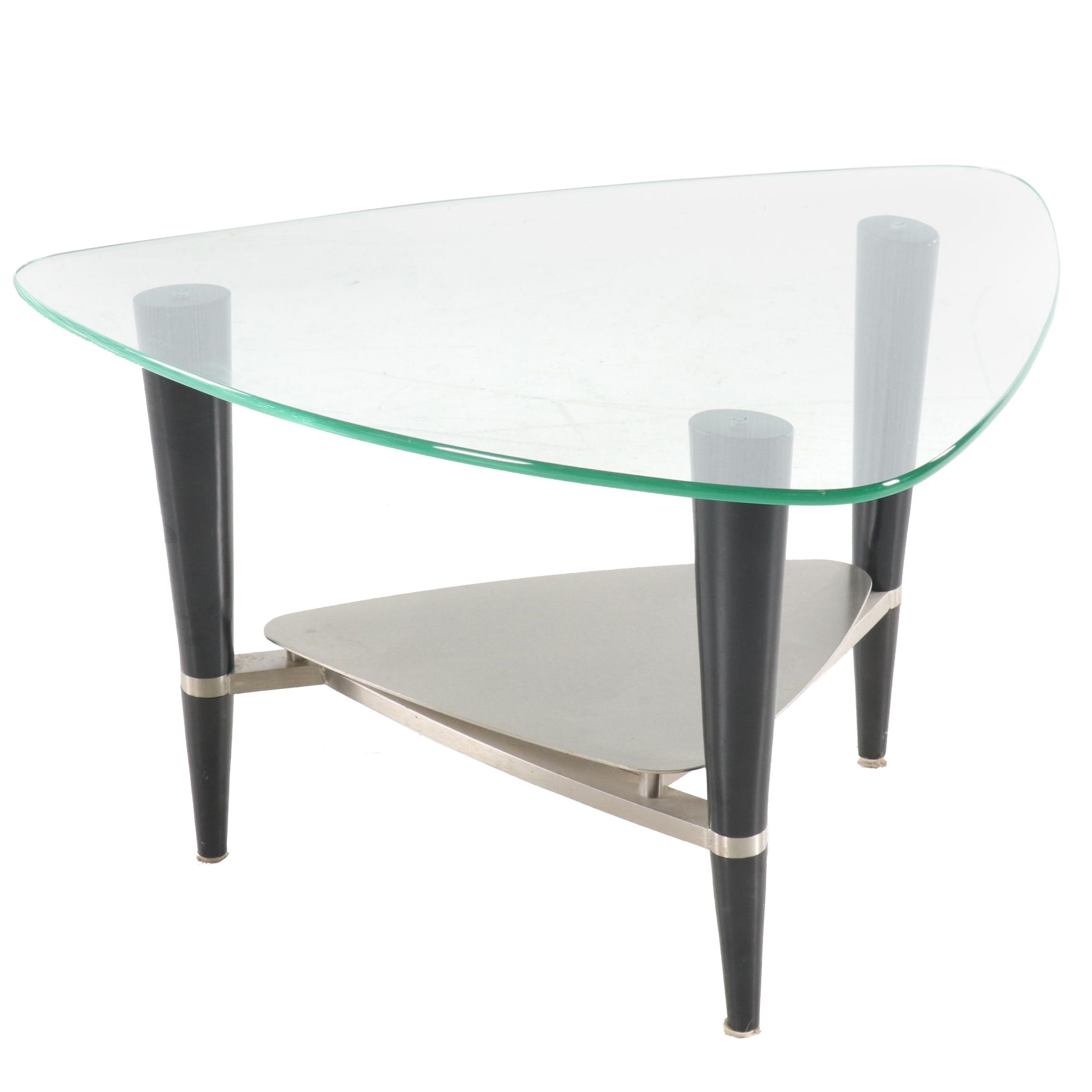 Modernist Style Corner Glass Top Side Table, Contemporary