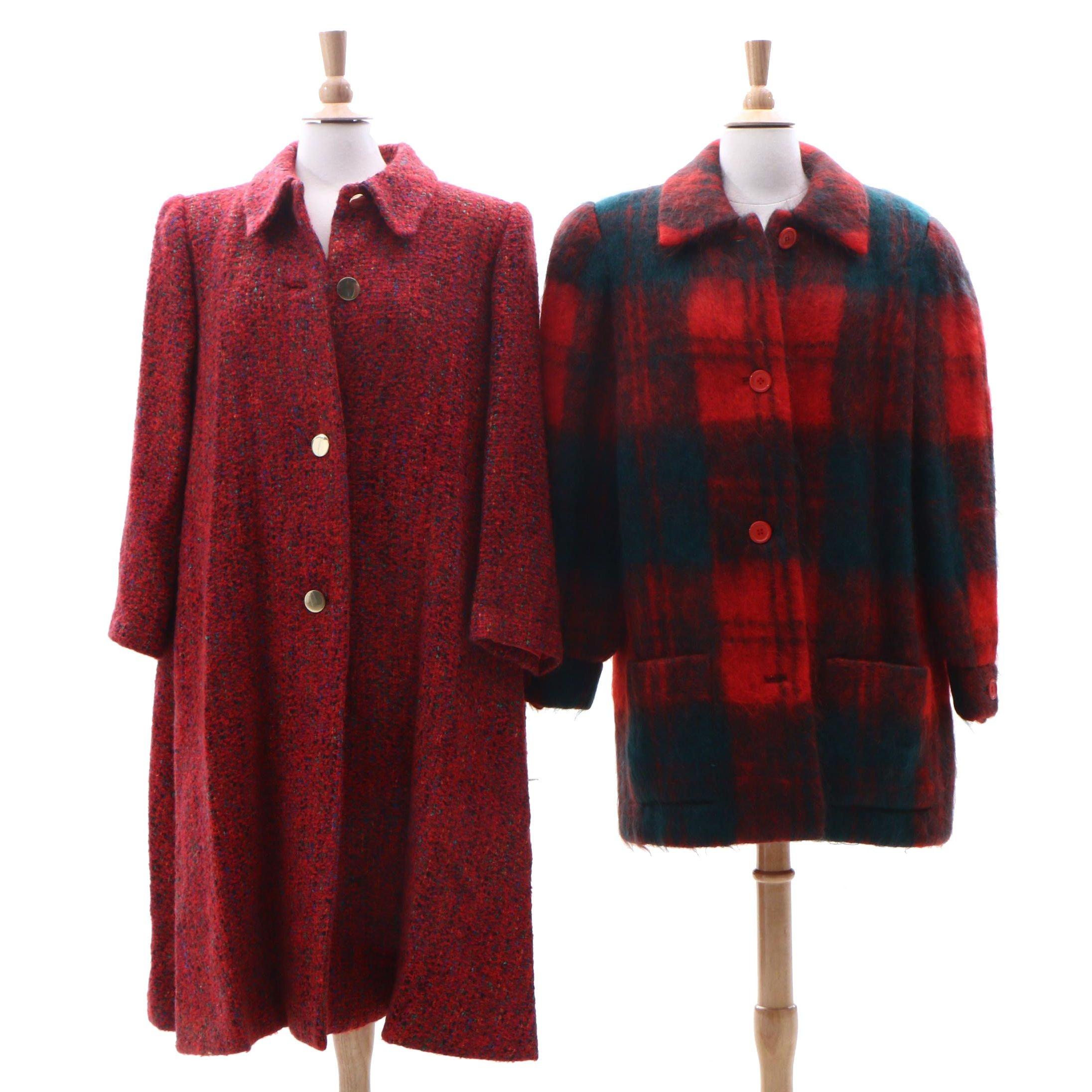 Helga Bouclé Wool Blend Coat and Mohair Plaid Coat, Vintage