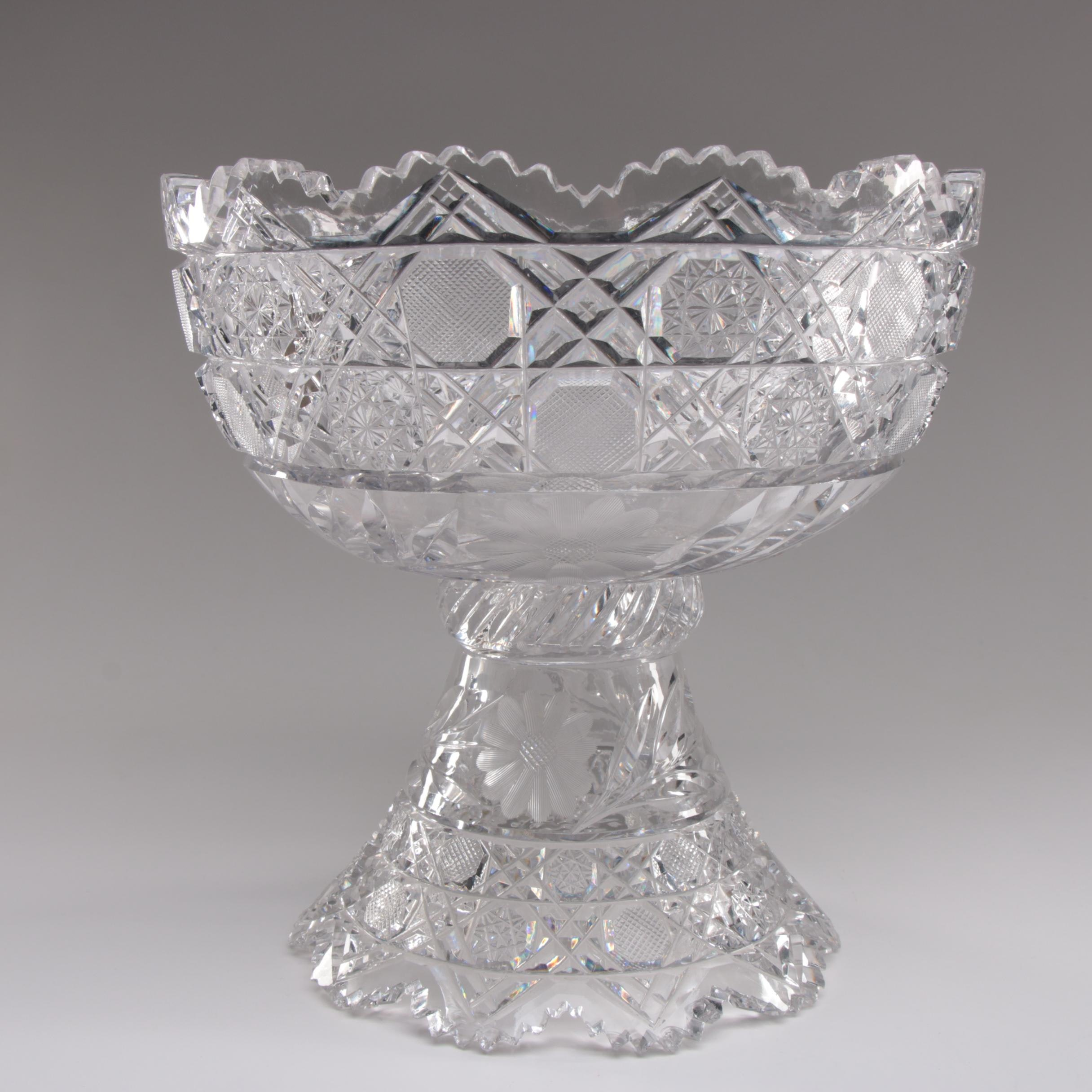 American Brilliant Cut Glass Punch Bowl, Late 19th/ Early 20th Century