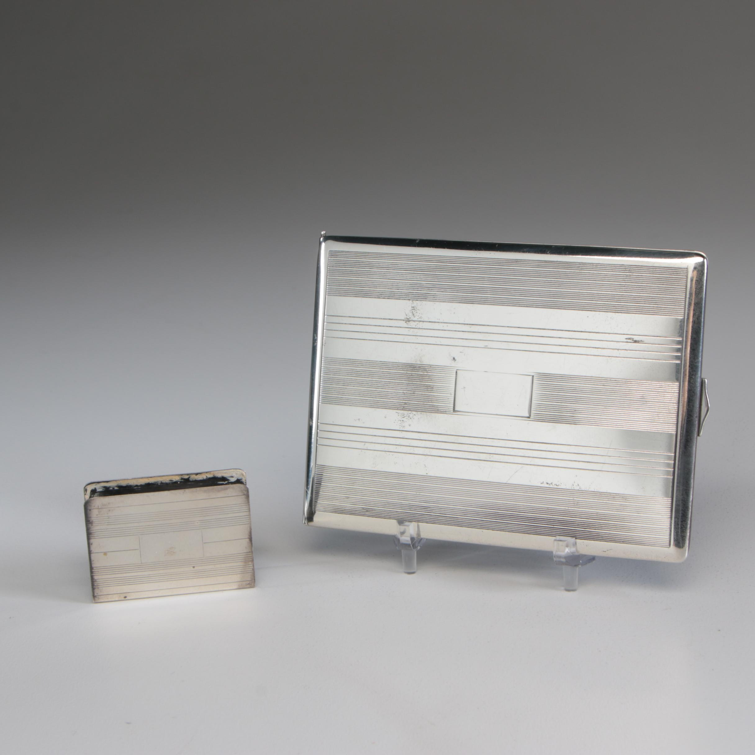American Sterling Silver Cigarette Case and Matchbox Cover Set, Mid-Century