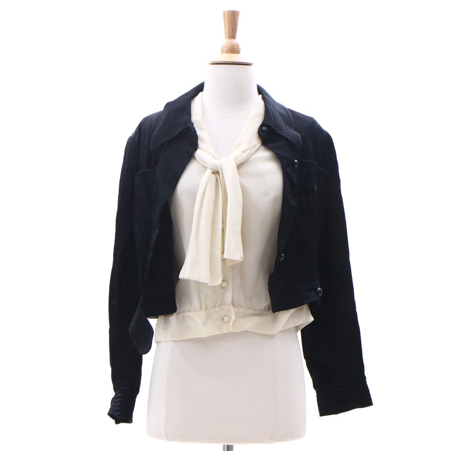 59f34c2804ebd0 Valentino Boutique Silk Jacket and Fashioned by Gregory Silk Blouse ...