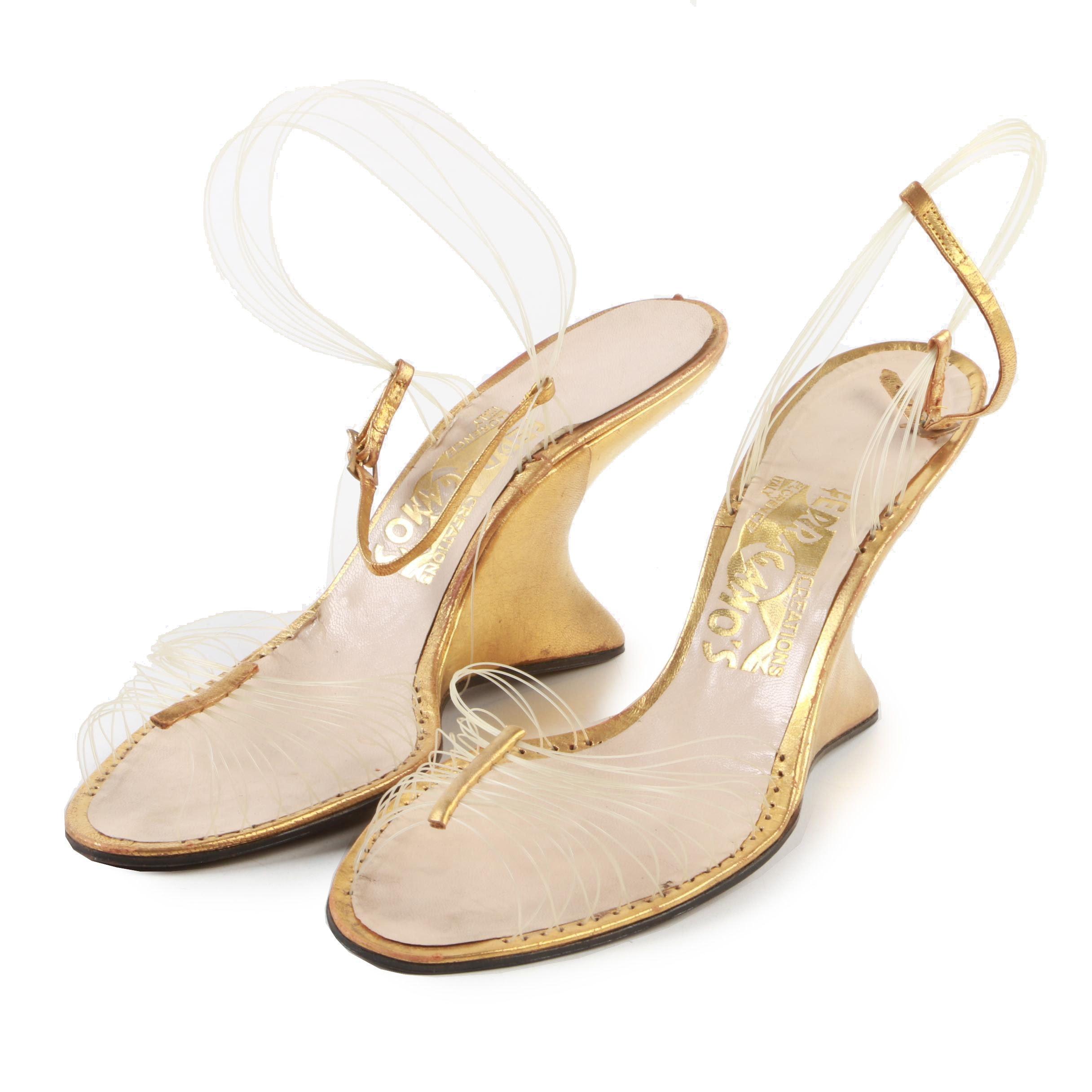 Salvatore Ferragamo Creations Patented Invisible Wedge Sandals, Late 1940s