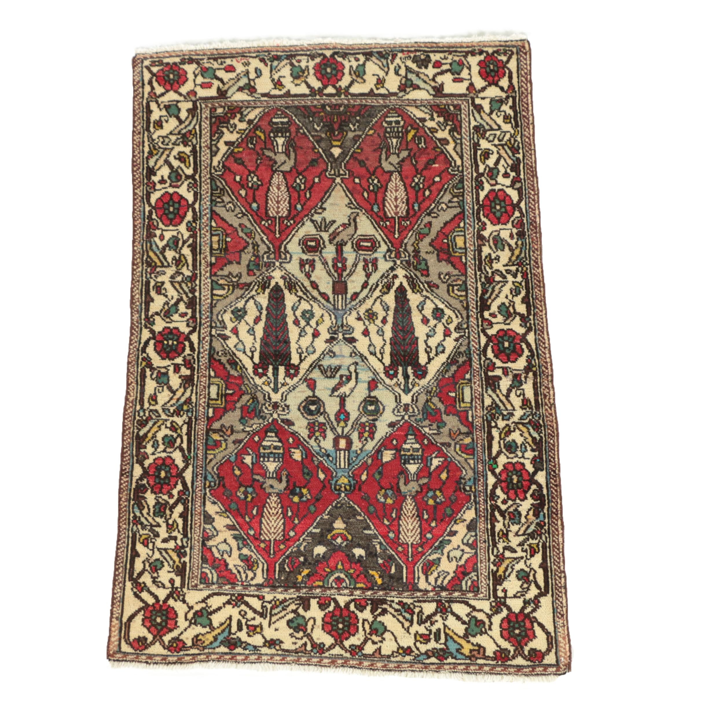 Hand-Knotted Persian Bakhtiari Wool Area Rug