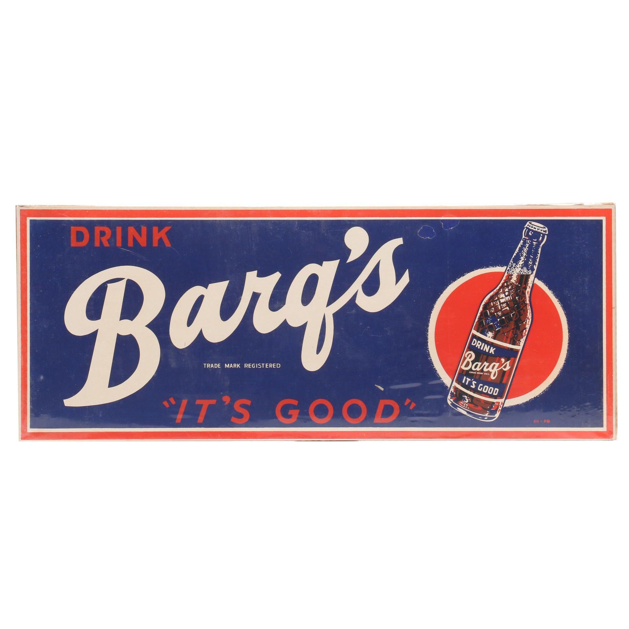Barq's Root Beer Cardboard Advertising Vendor Sign, Circa 1950s
