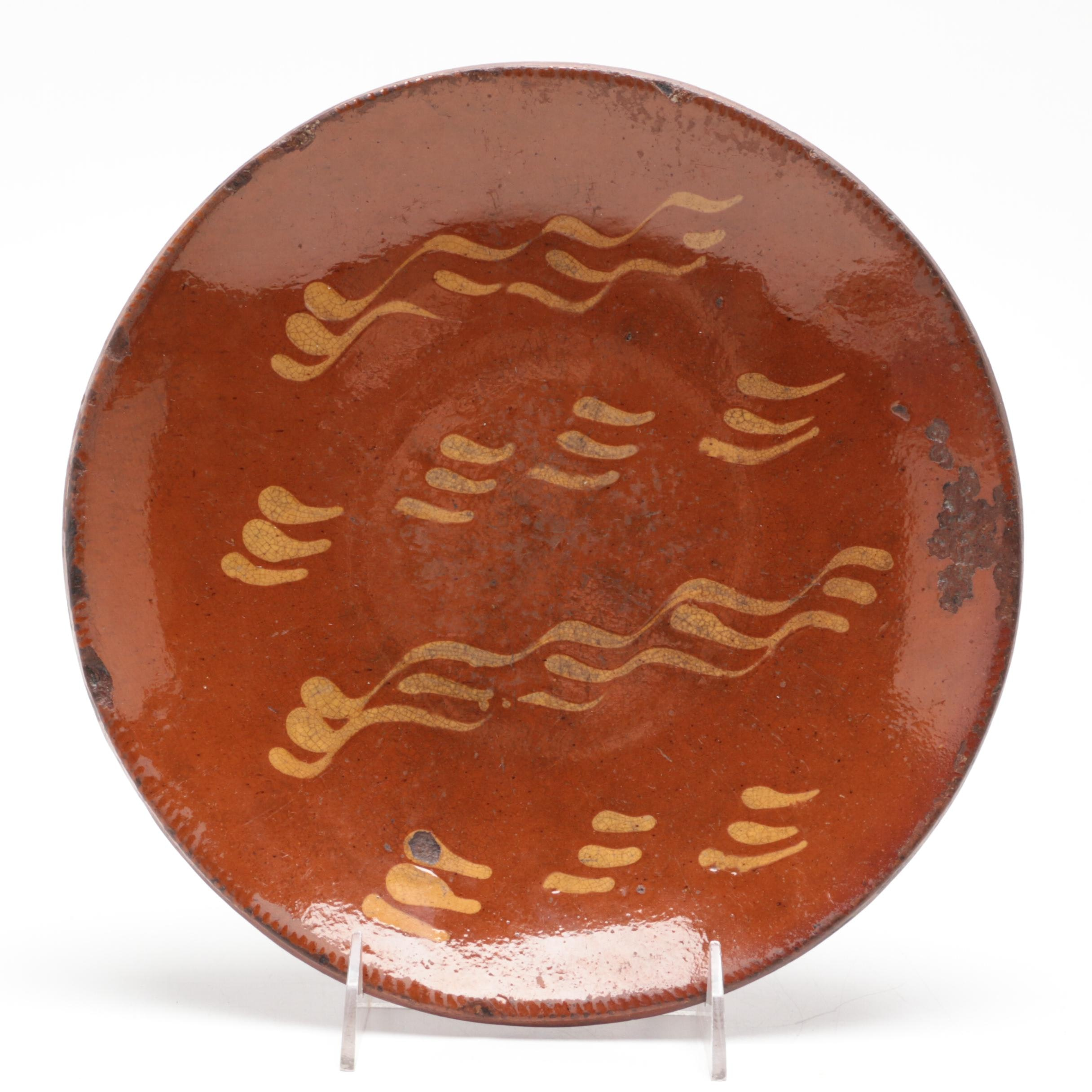 Redware Slipware Plate, Late 19th to Early 20th Century