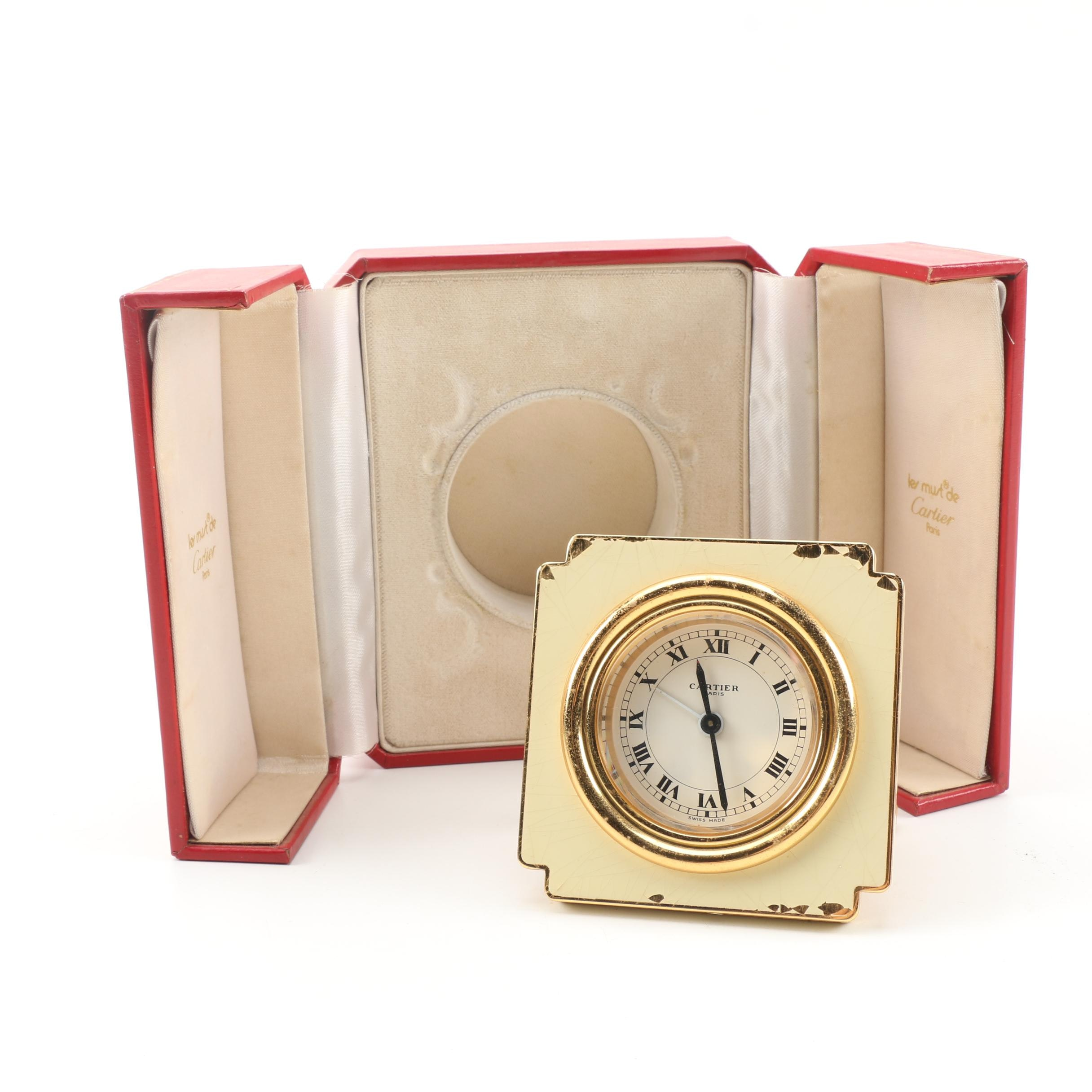 "Cartier ""Les Must"" Swiss Made Travel Clock with Case"