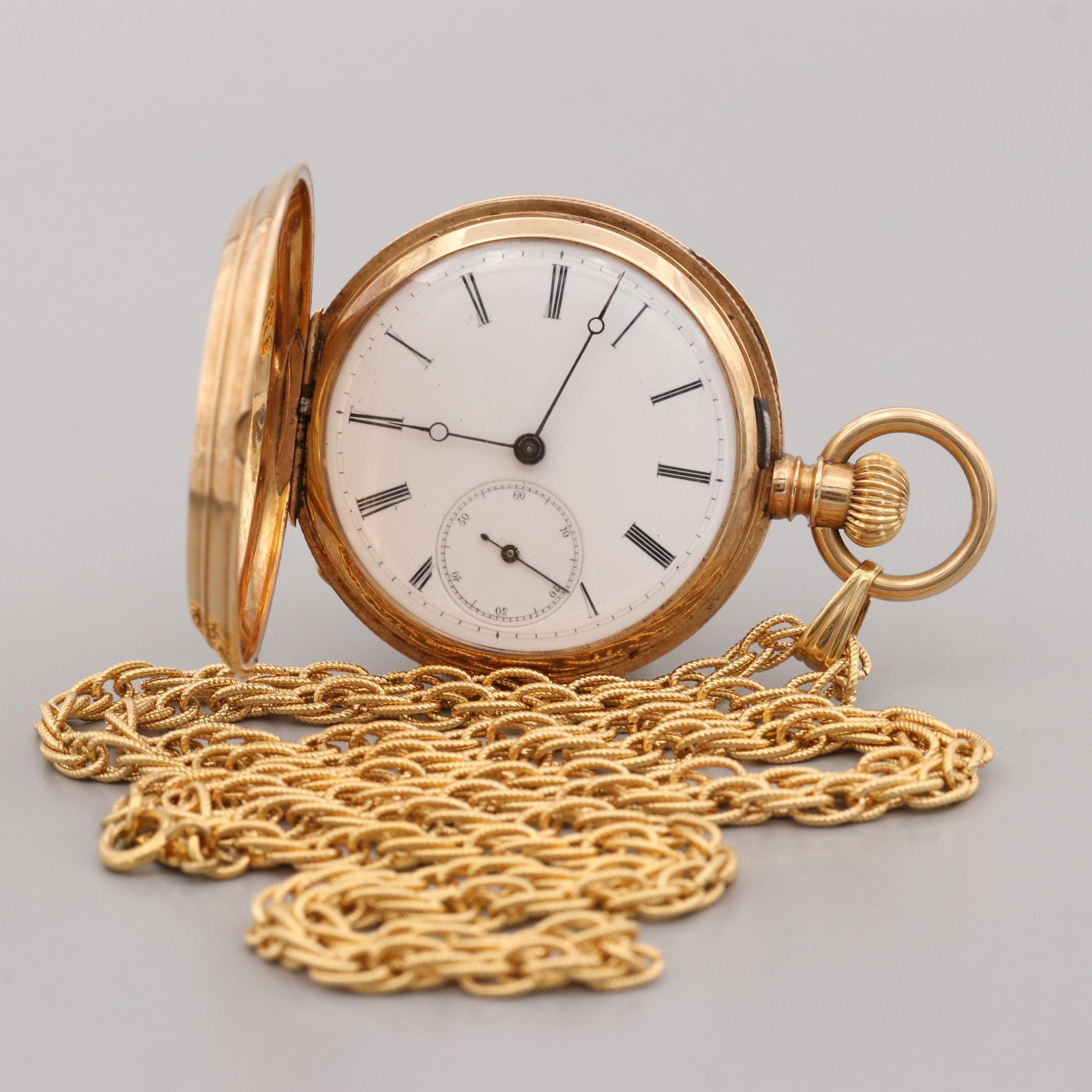 Longines 18K Yellow Gold Key Wind and Set Pocket Watch