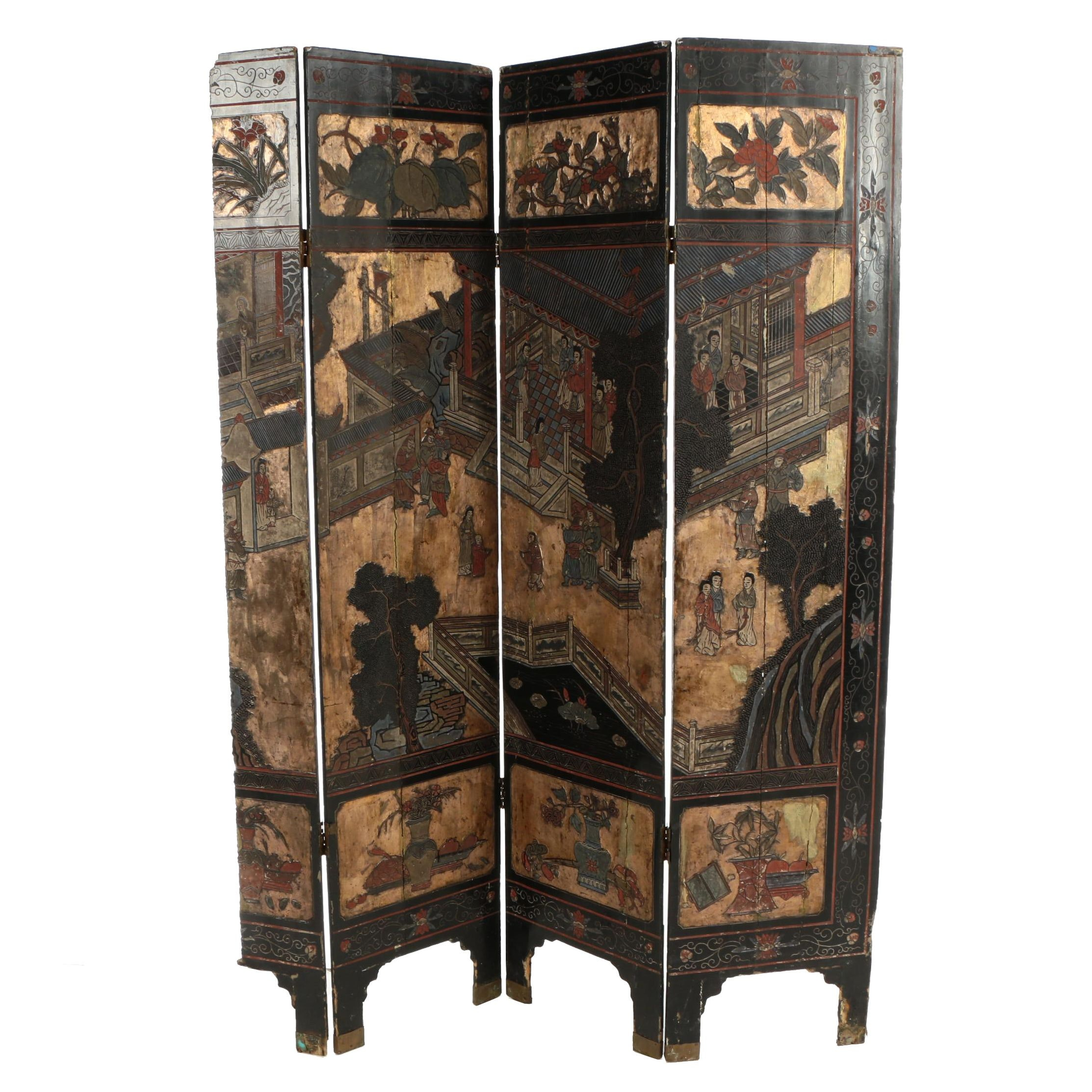Chinese Coromandel Lacquer Folding Screen, Late 19th/Early 20th Century
