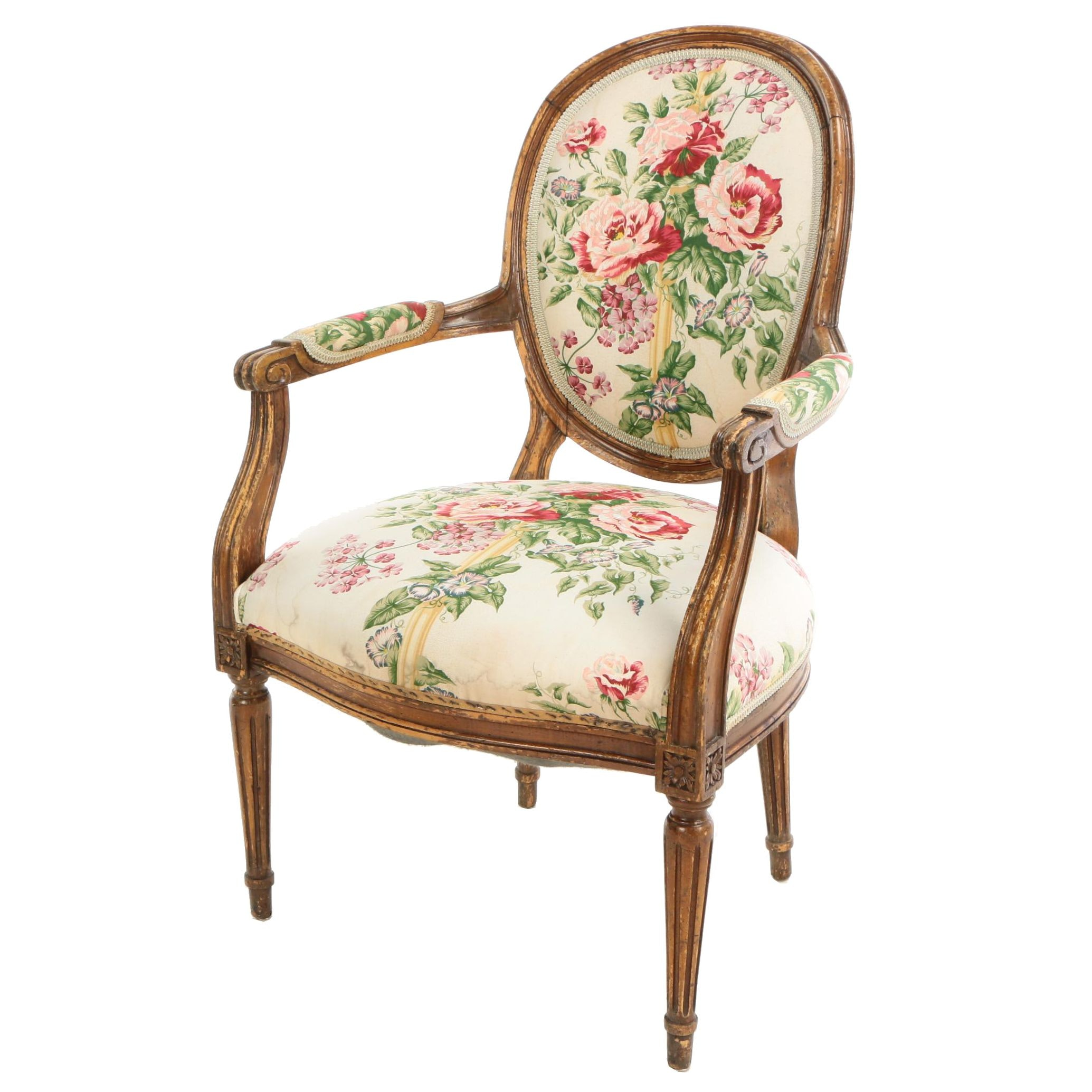 Louis XVI Style Carved Beech Fauteuil, Early 20th Century