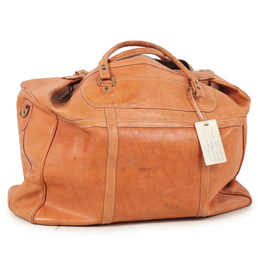 Tan Leather Luggage Weekender Bag