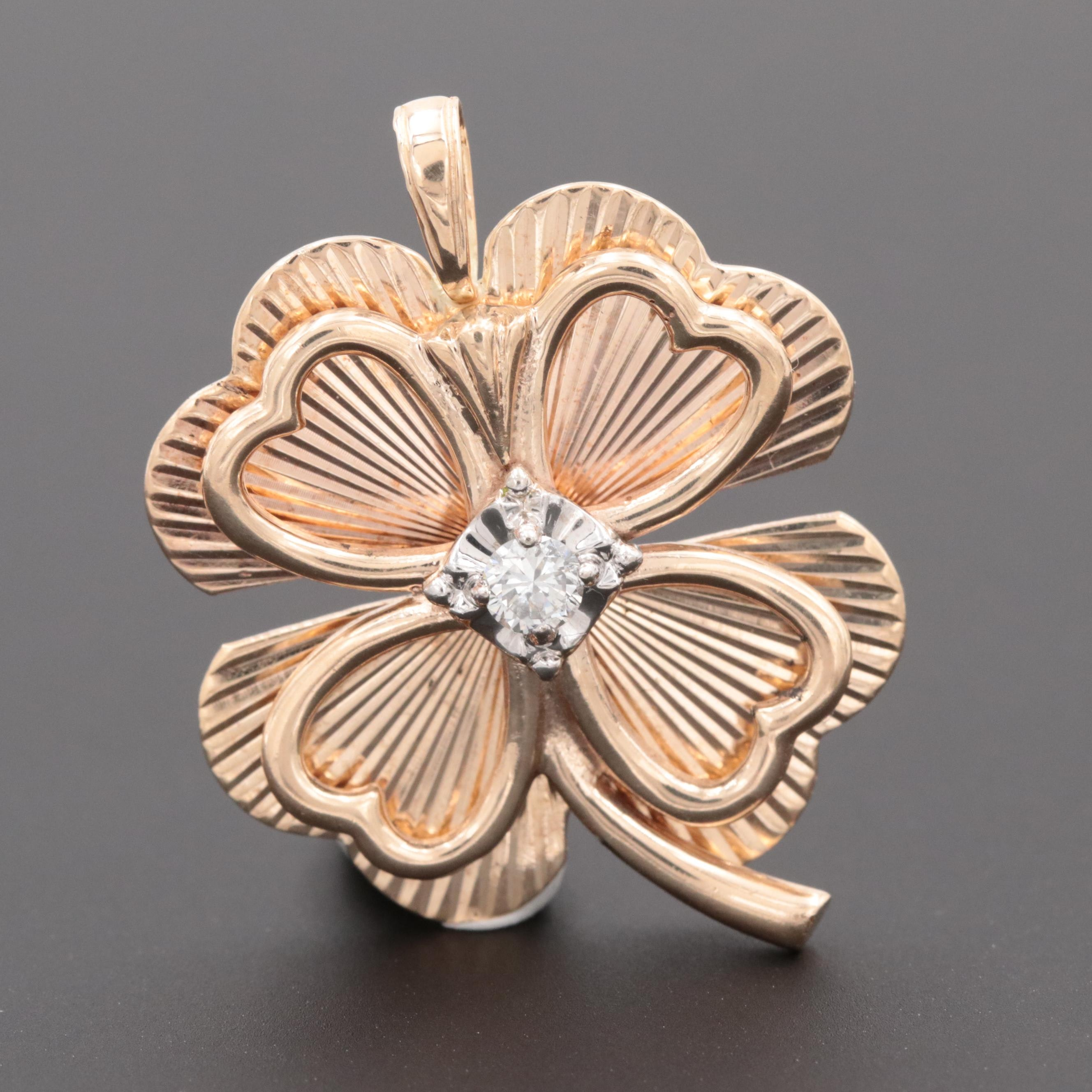Vintage 14K Yellow Gold Diamond Four Leaf Clover