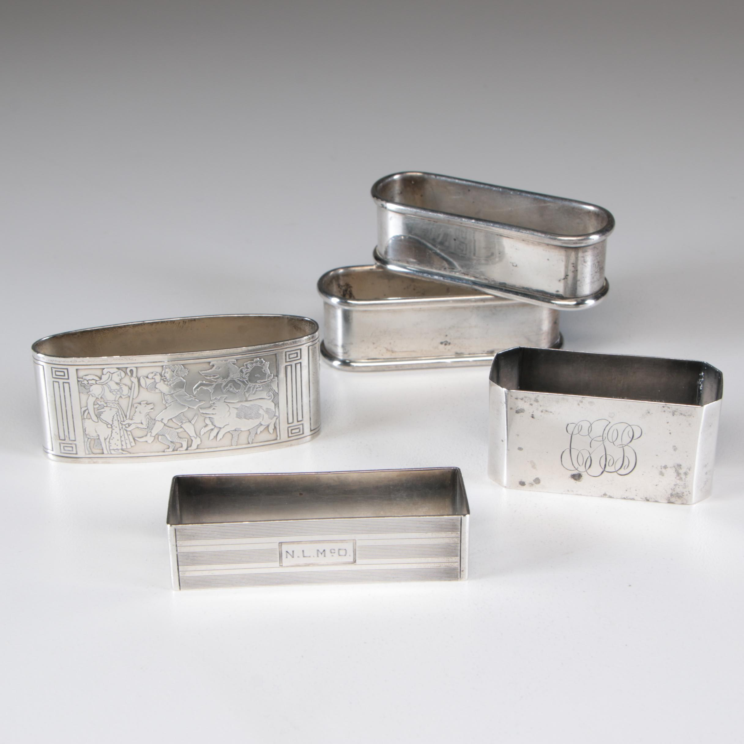 Sterling Silver Napkin Rings including Gorham, Early 20th Century