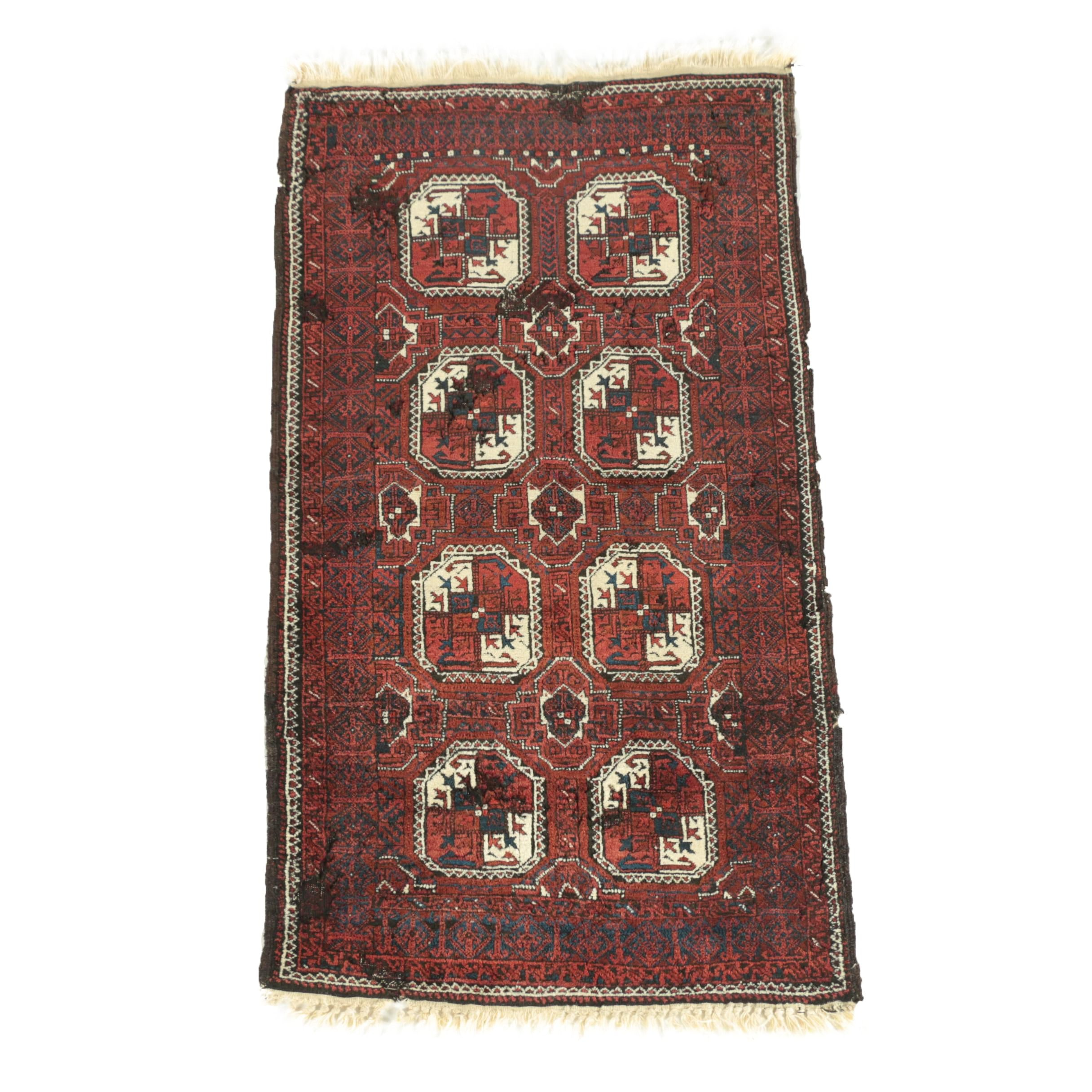 Hand-Knotted Afghan Baluch Bokhara Wool Area Rug